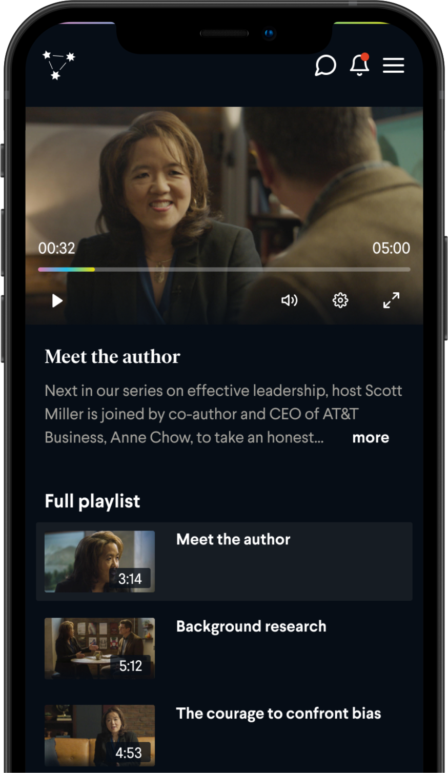 Playlist view of a premium book club on the BookClub app. Features footage of Anne Chow and Scott Miller in the FranklinCovey book club on Effective Leadership.