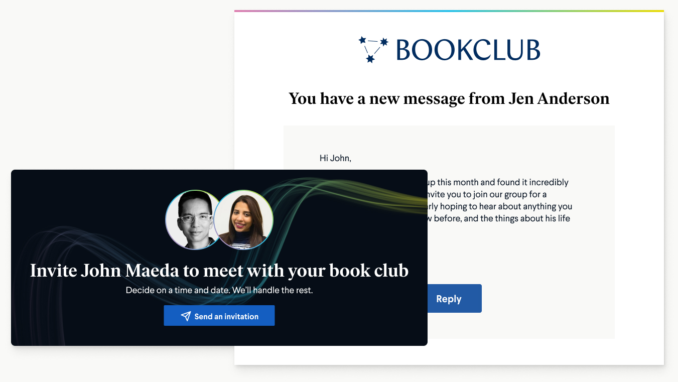 Readers can invite authors to join their book clubs live via BookClub.