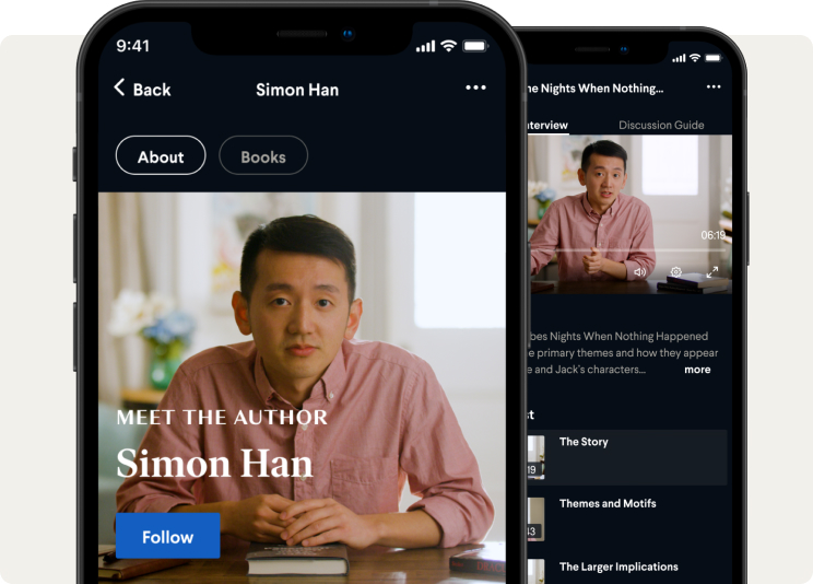BookClub mobile app featuring videos by author Simon Han.