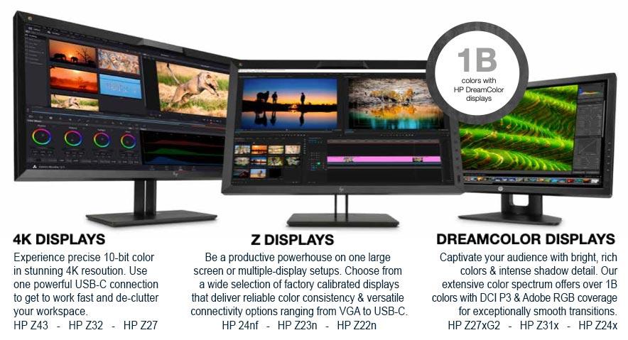 HP Desktop displays