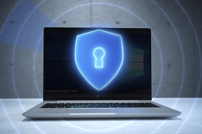 HP Laptop with security icon overlay