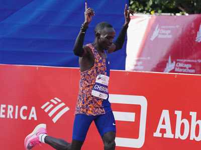 Cherono sneaks into first place
