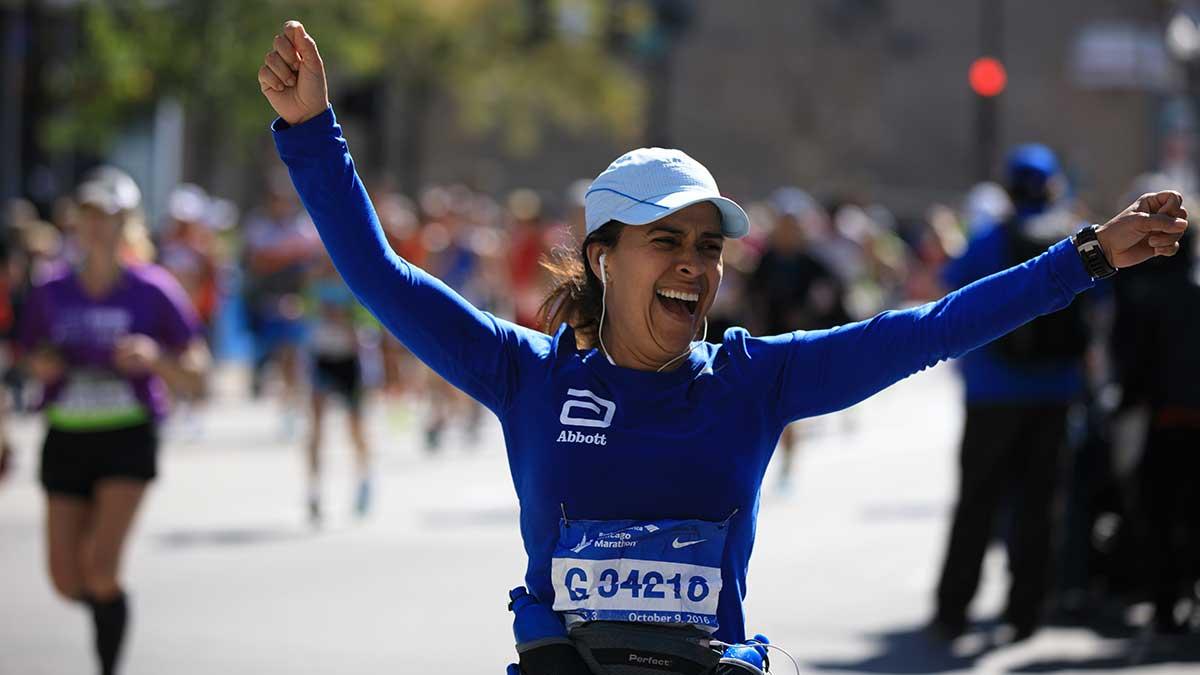 Athlete celebrating