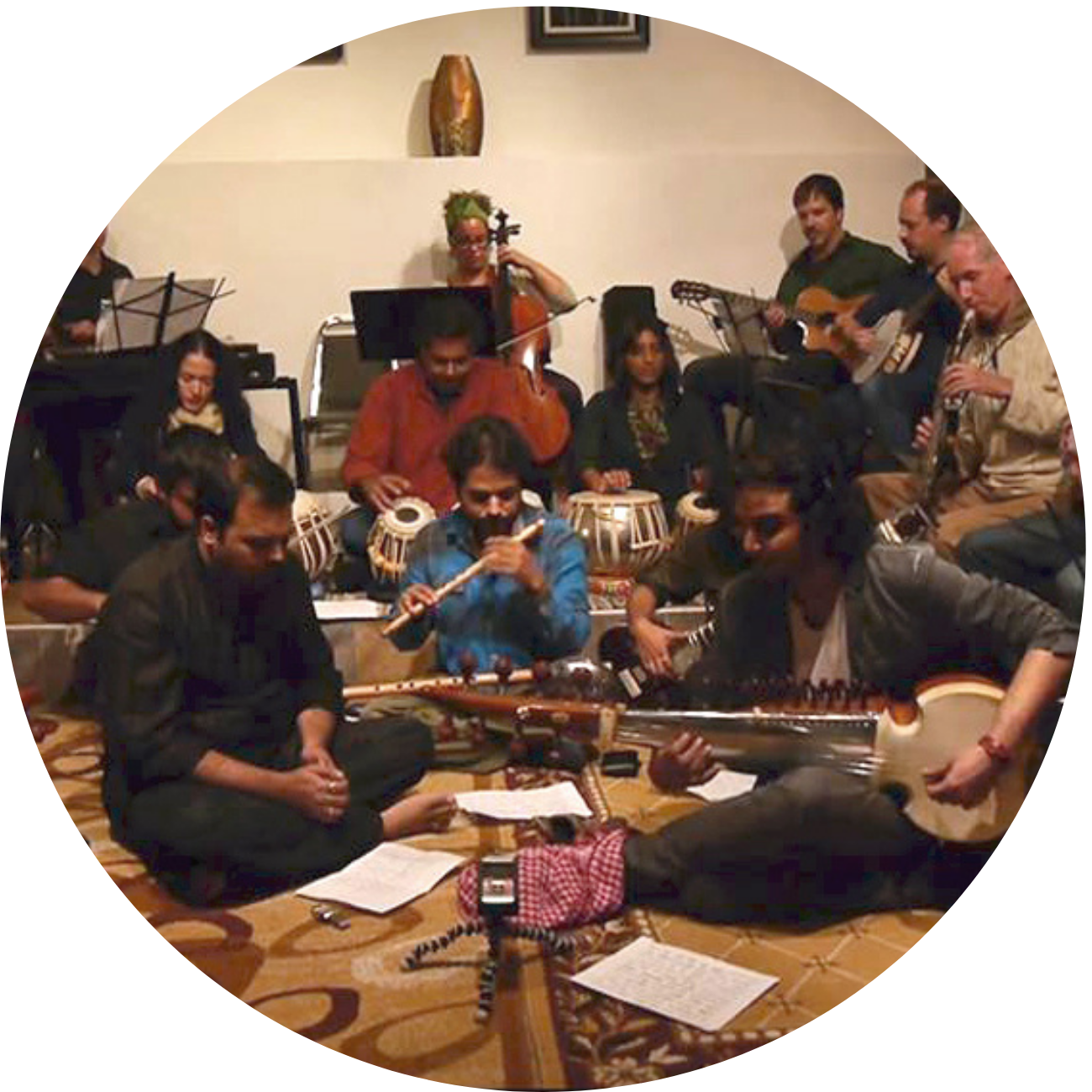 Group of 13 musicians performing music