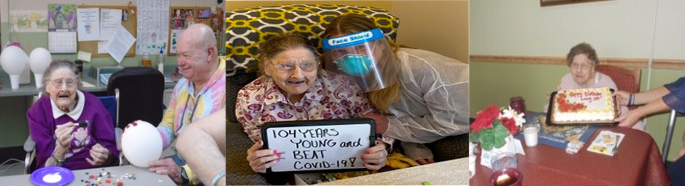 Images of Lucy, a Hornell Gardens resident since 2005, is 104 years young and has recently recovered from COVID-19