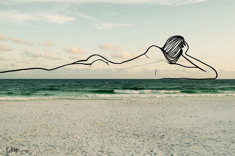 Shira Barzilay Koketit digital artist photography nature female figure minimalist abstract one line
