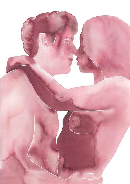 Tina Maria Elena Bak artist painter paintings watercolor paper love making sensual erotic female pleasure