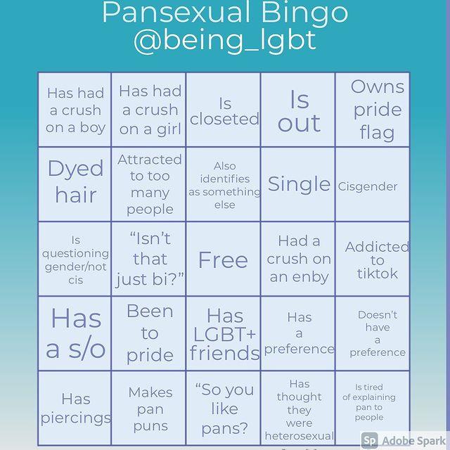 being lgbt pansexual bingo