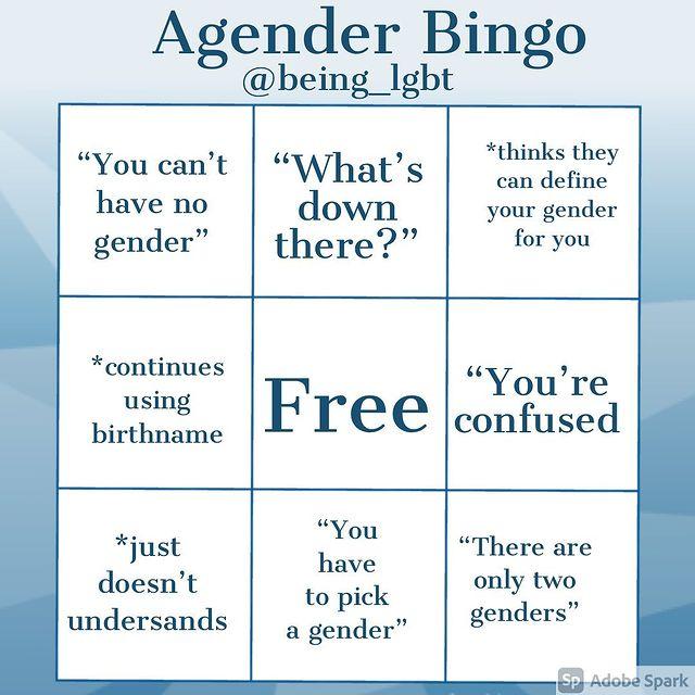 being lgbt agender bingo