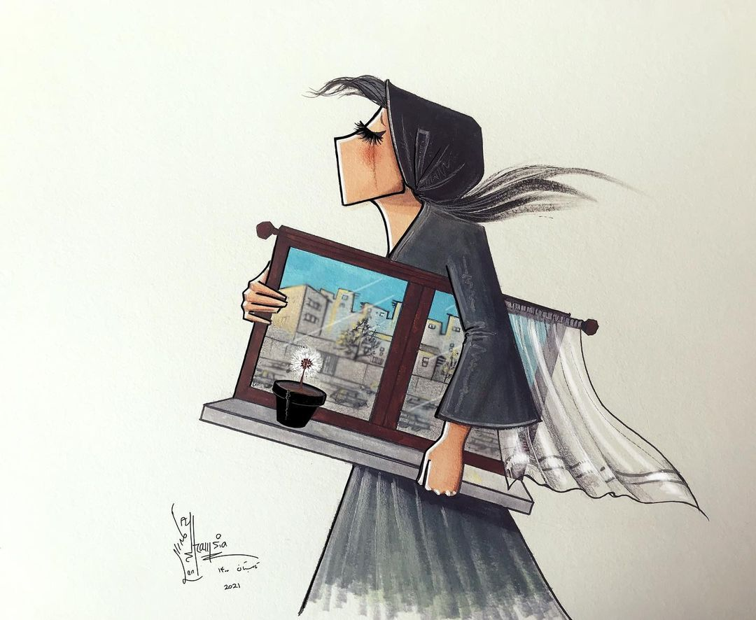 Shamsia Hassani woman window