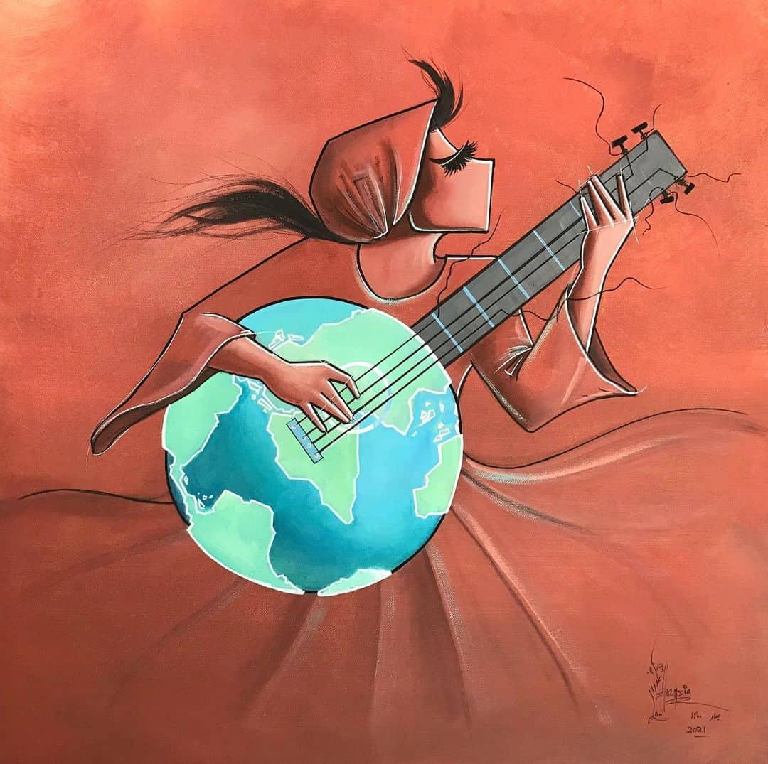 Shamsia Hassani woman earth guitar