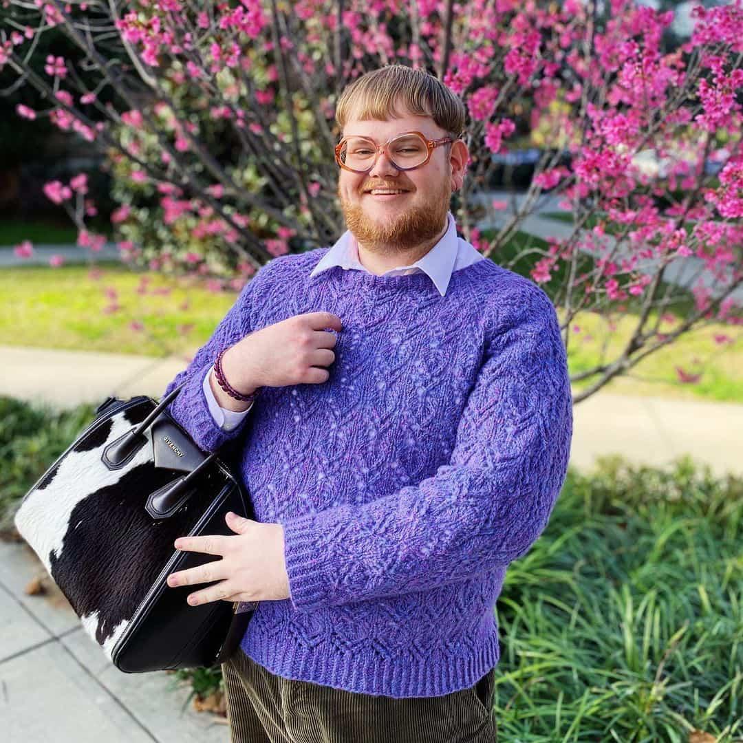 James Watts knitting purple