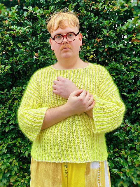 james watts knitting yellow