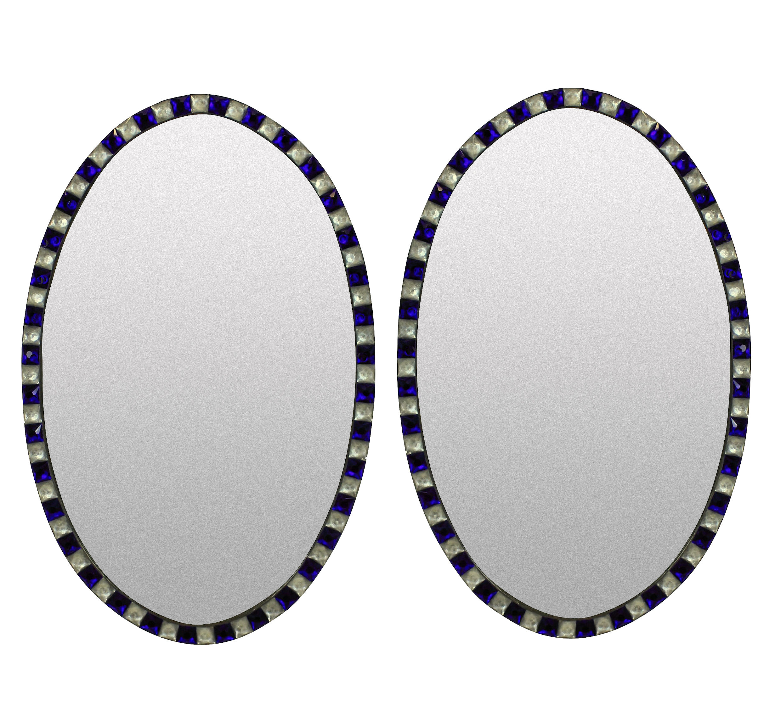 A PAIR OF GEORGIAN STYLE IRISH MIRRORS WITH COBALT GLASS & ROCK CRYSTAL FACETED BORDER