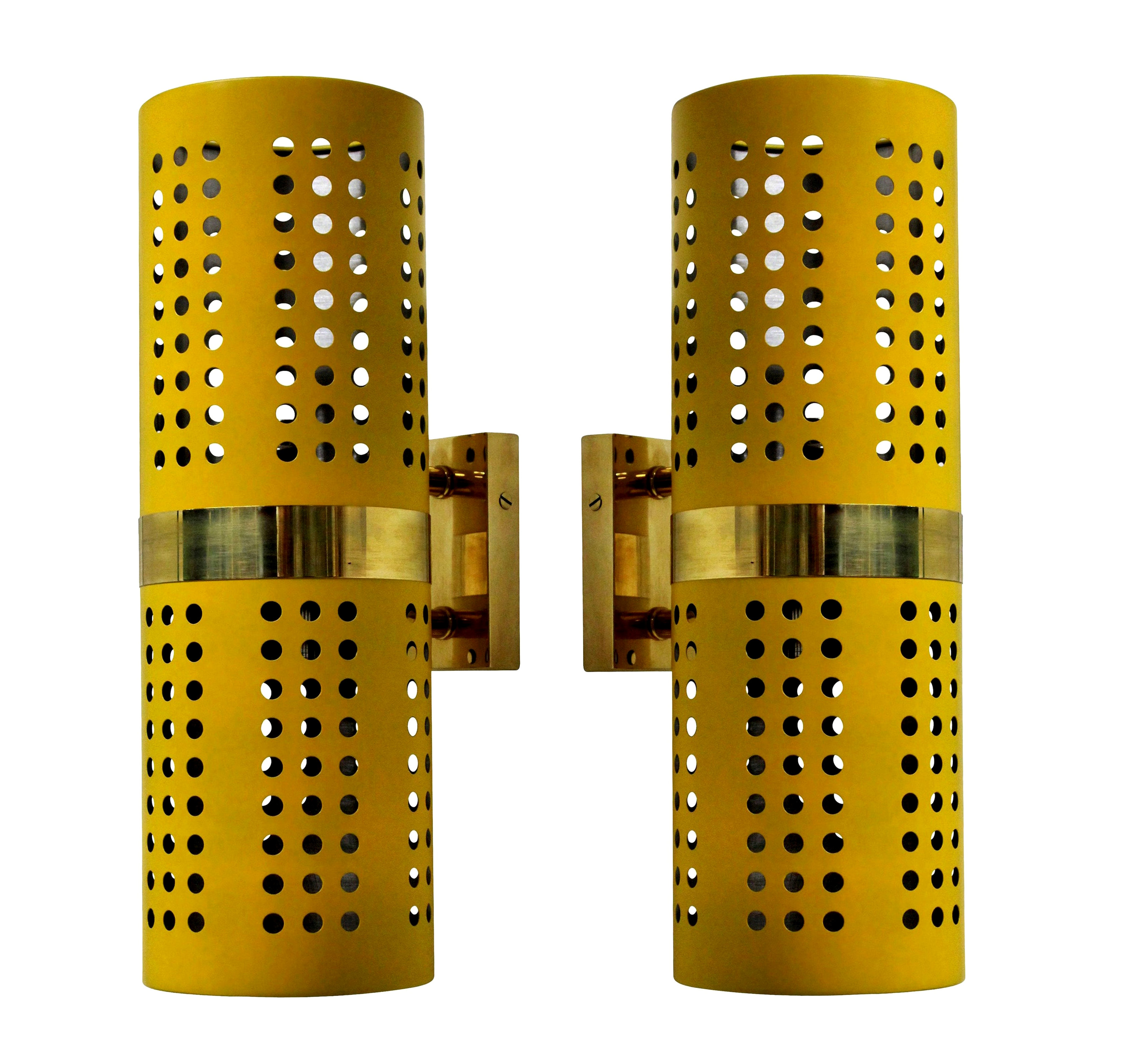 A PAIR OF 60'S STYLE WALL LIGHTS IN CANARY YELLOW
