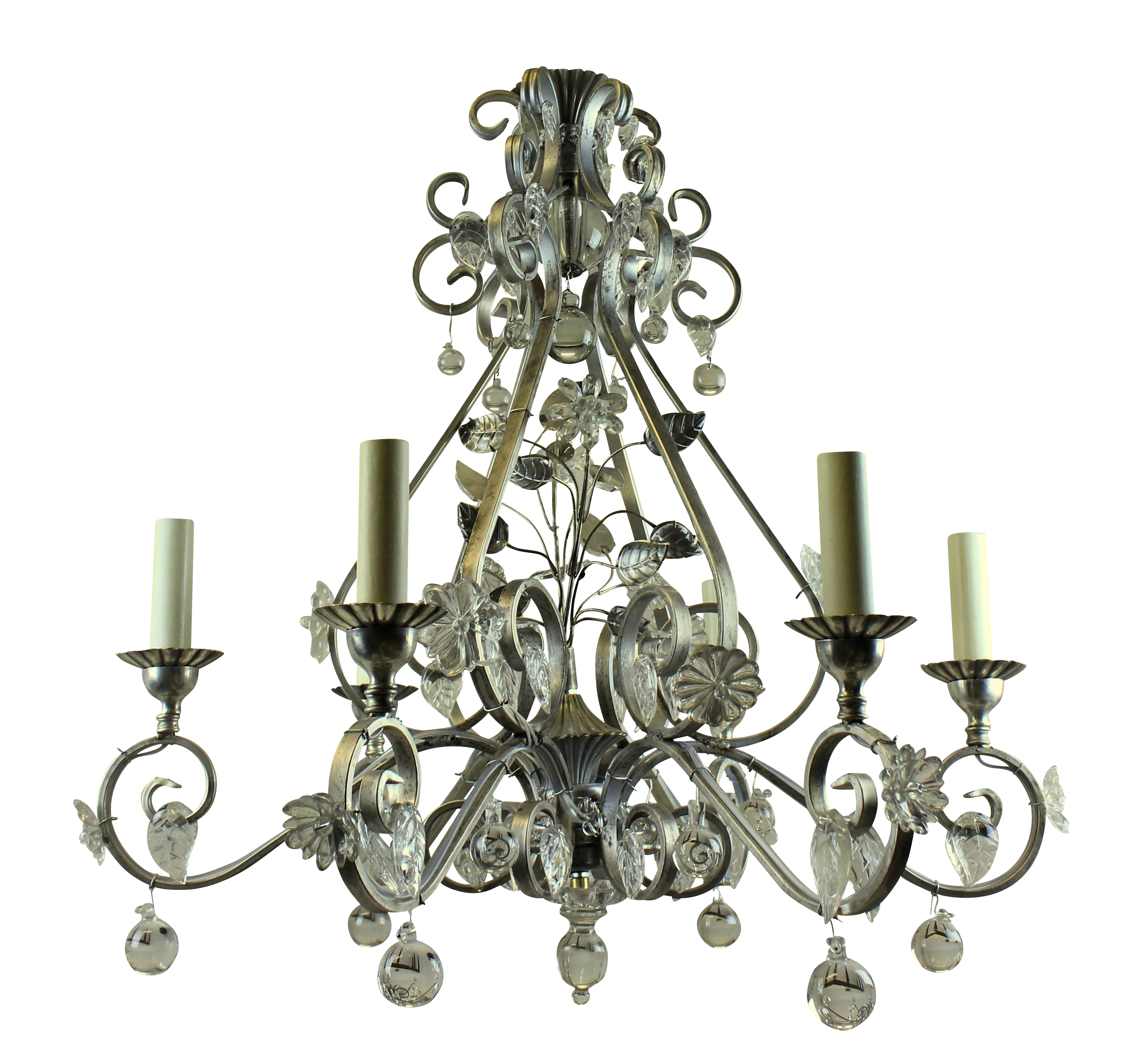 A MID-CENTURY BAGUES STYLE CHANDELIER