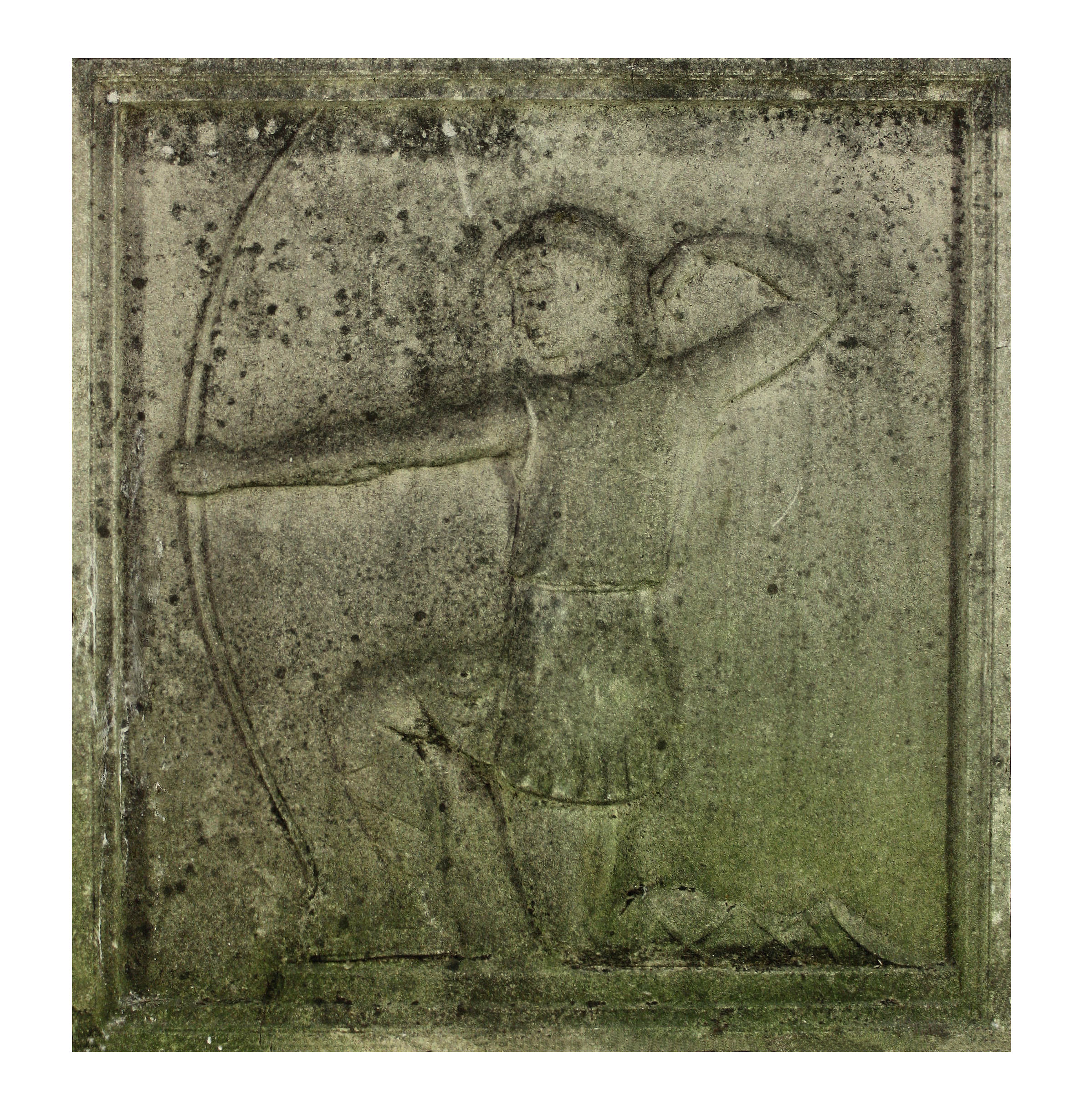 A STONE RELIEF OF AN ARCHER