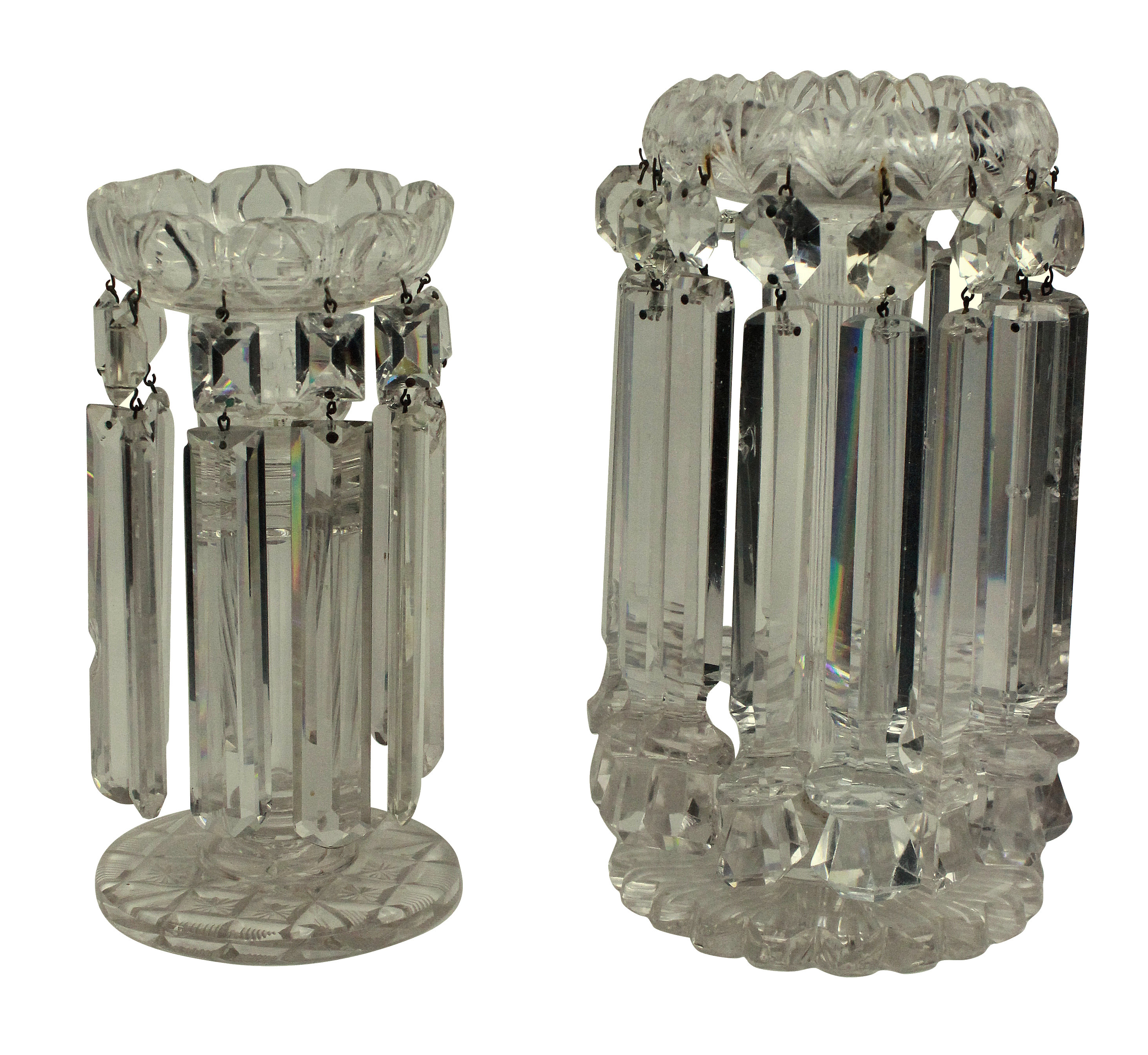 TWO EARLY XIX CENTURY CUT GLASS TABLE LUSTRES