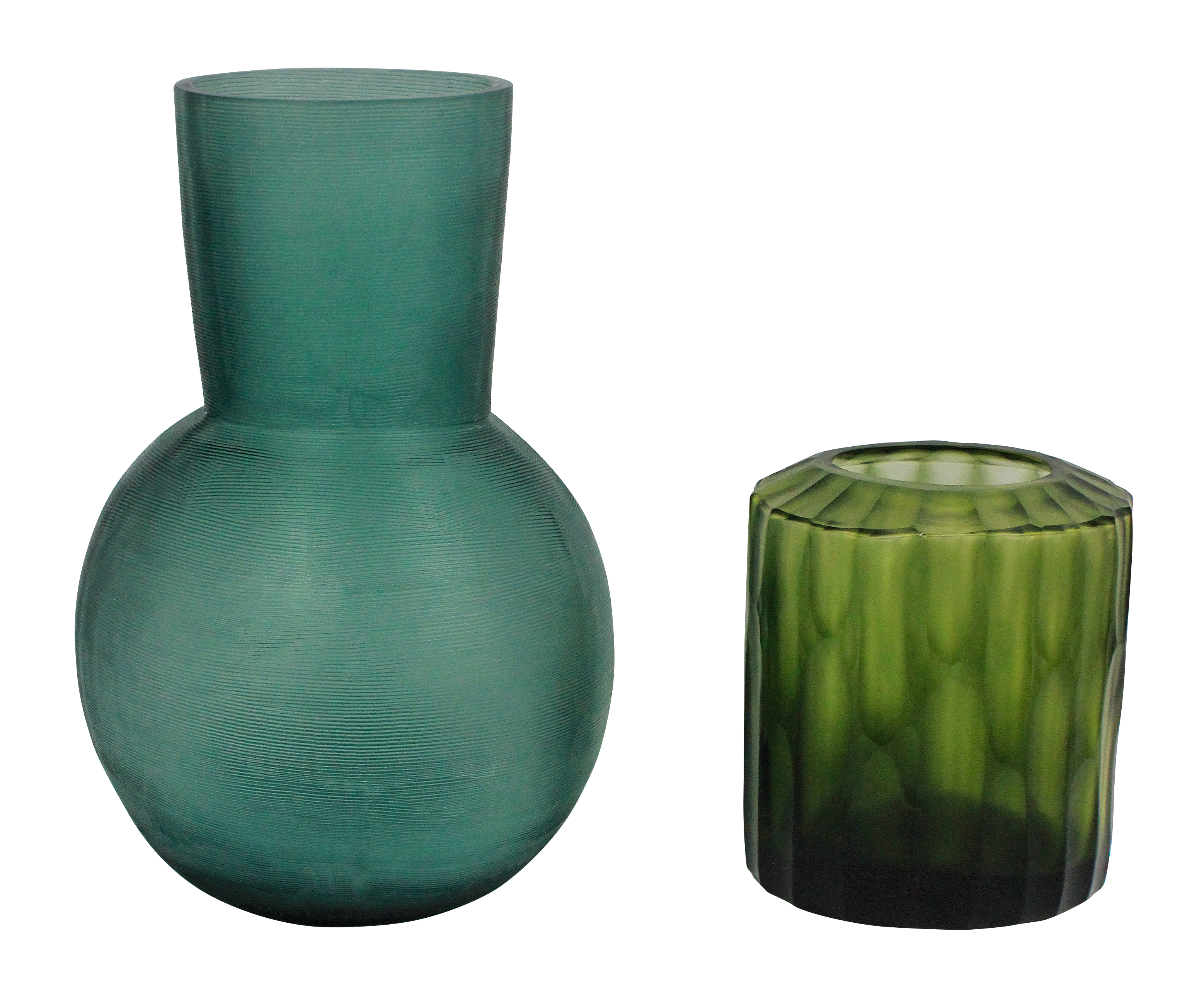 A PAIR OF GUAXS GLASS VASES