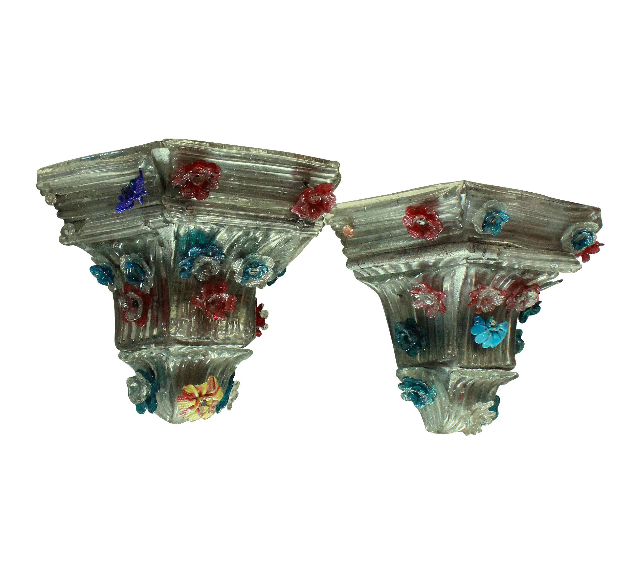 A PAIR OF CHARMING MURANO WALL BRACKETS