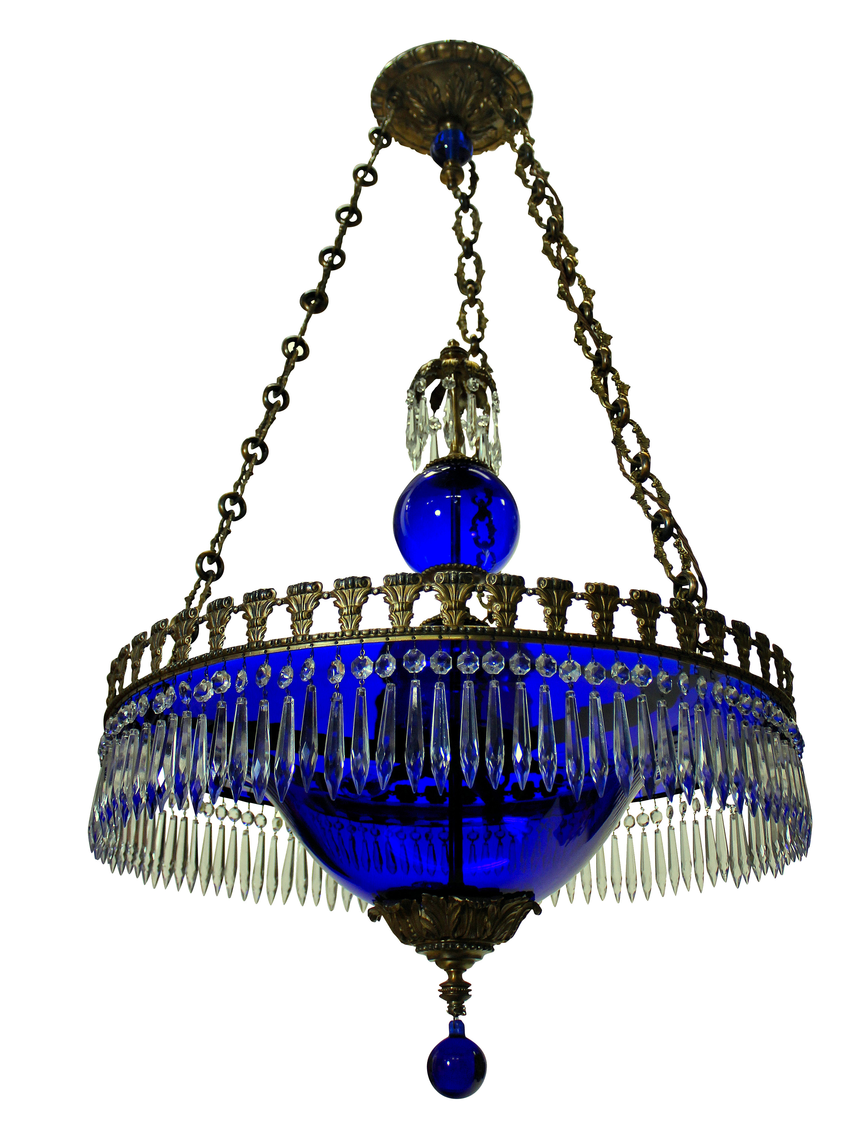 A FINE BALTIC CHANDELIER IN BLUE GLASS