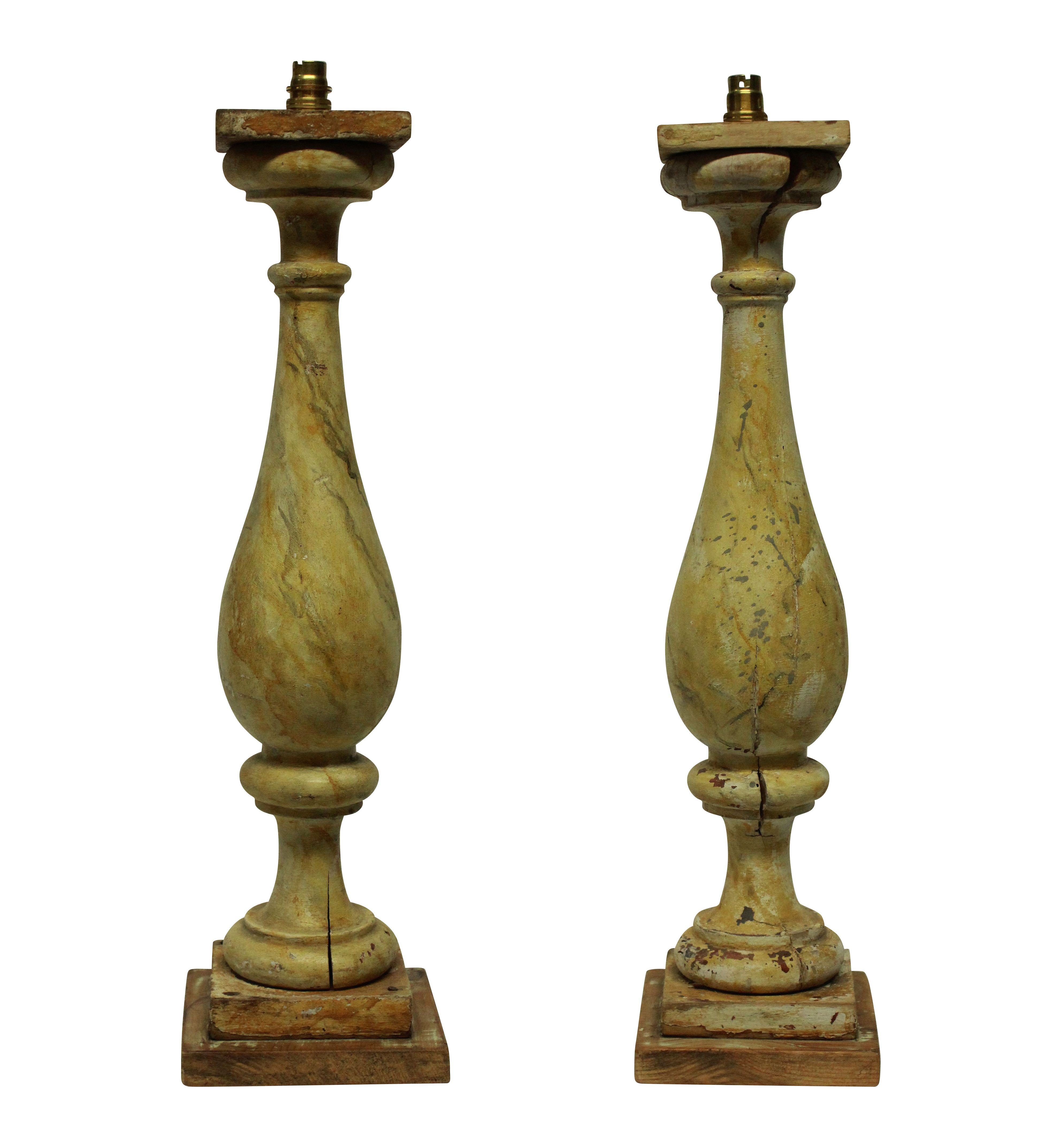 A PAIR OF LARGE XIX CENTURY BALUSTRADE LAMPS