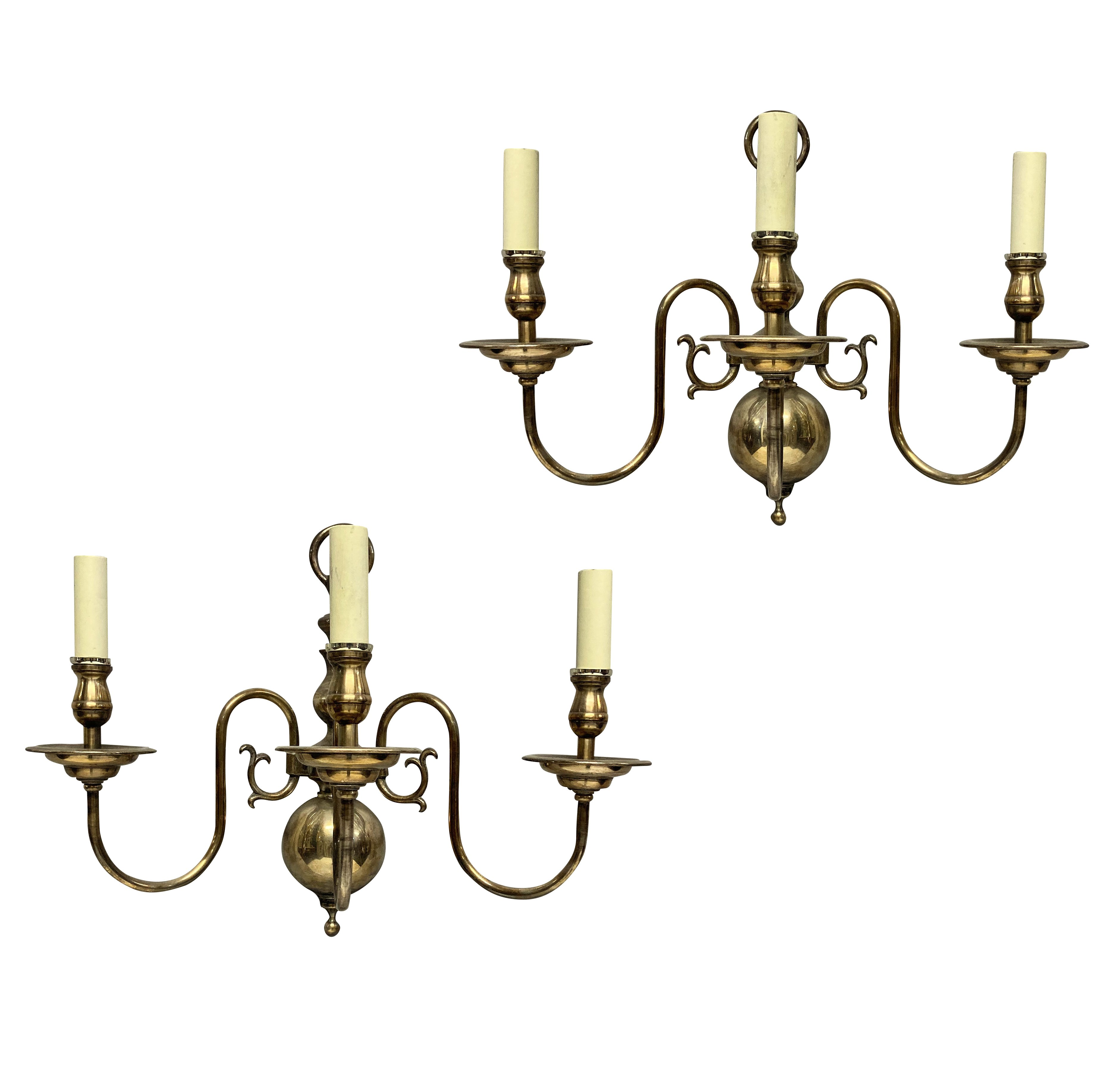 A PAIR OF ENGLISH SILVER PLATED WALL LIGHTS