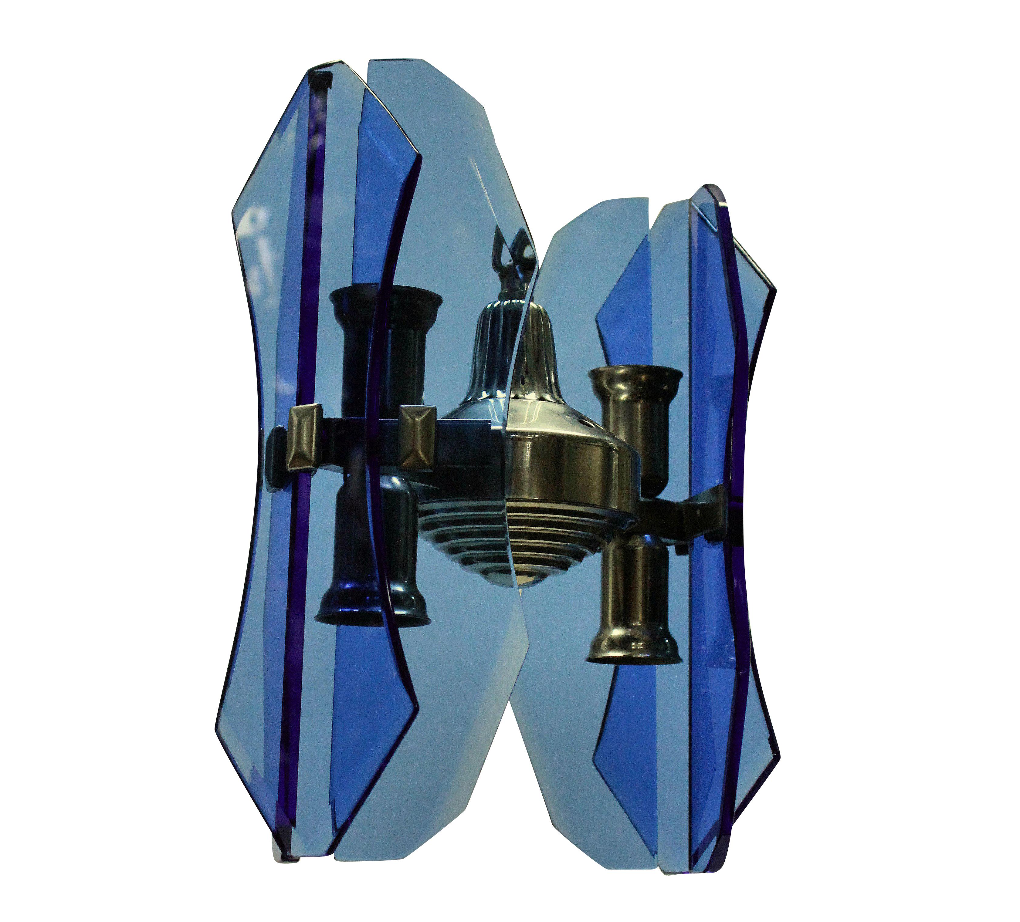 A SMALL VECA PENDANT LIGHT IN BLUE GLASS