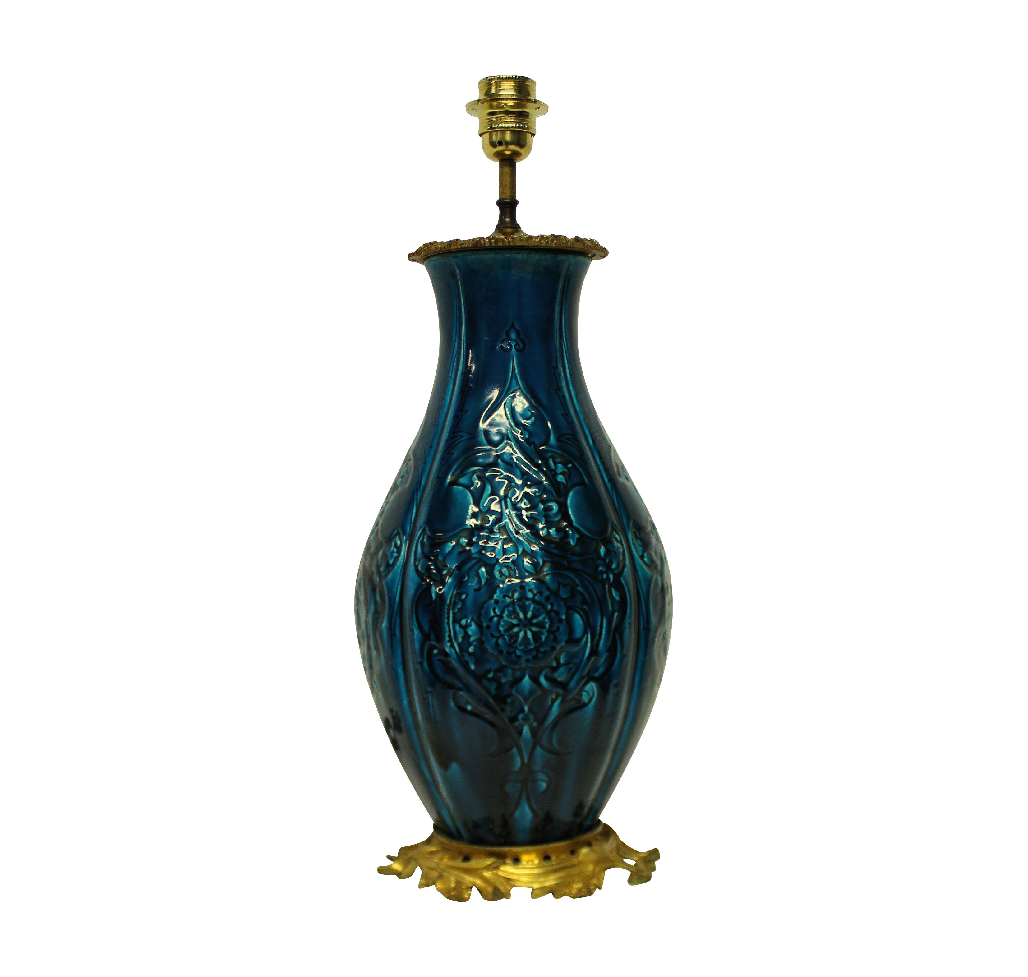 A CHINESE VASE LAMP ON AN ORMOLU BASE