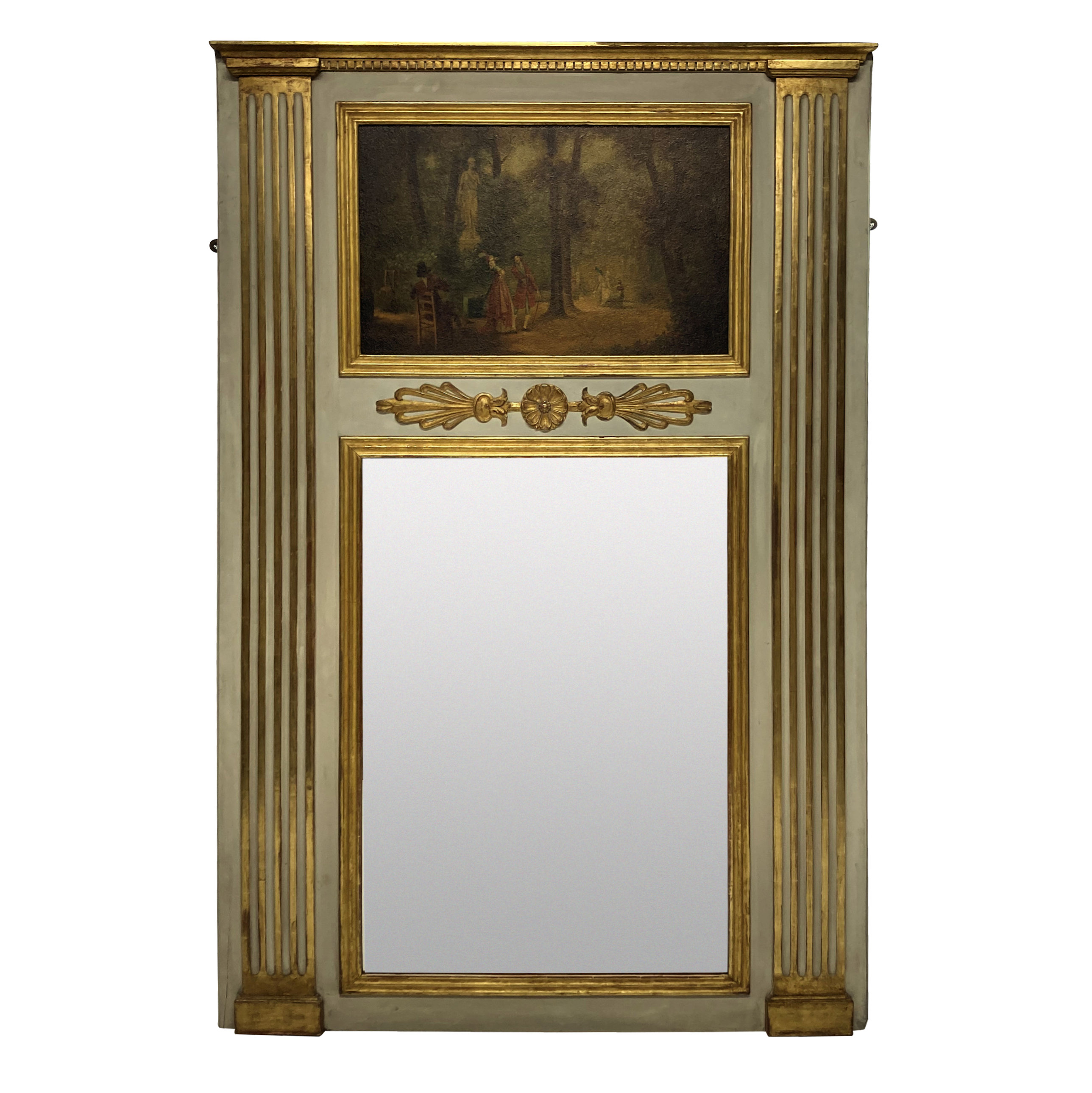 A FRENCH PAINTED & GILDED TRUMEAU MIRROR WITH PAINTED PANEL