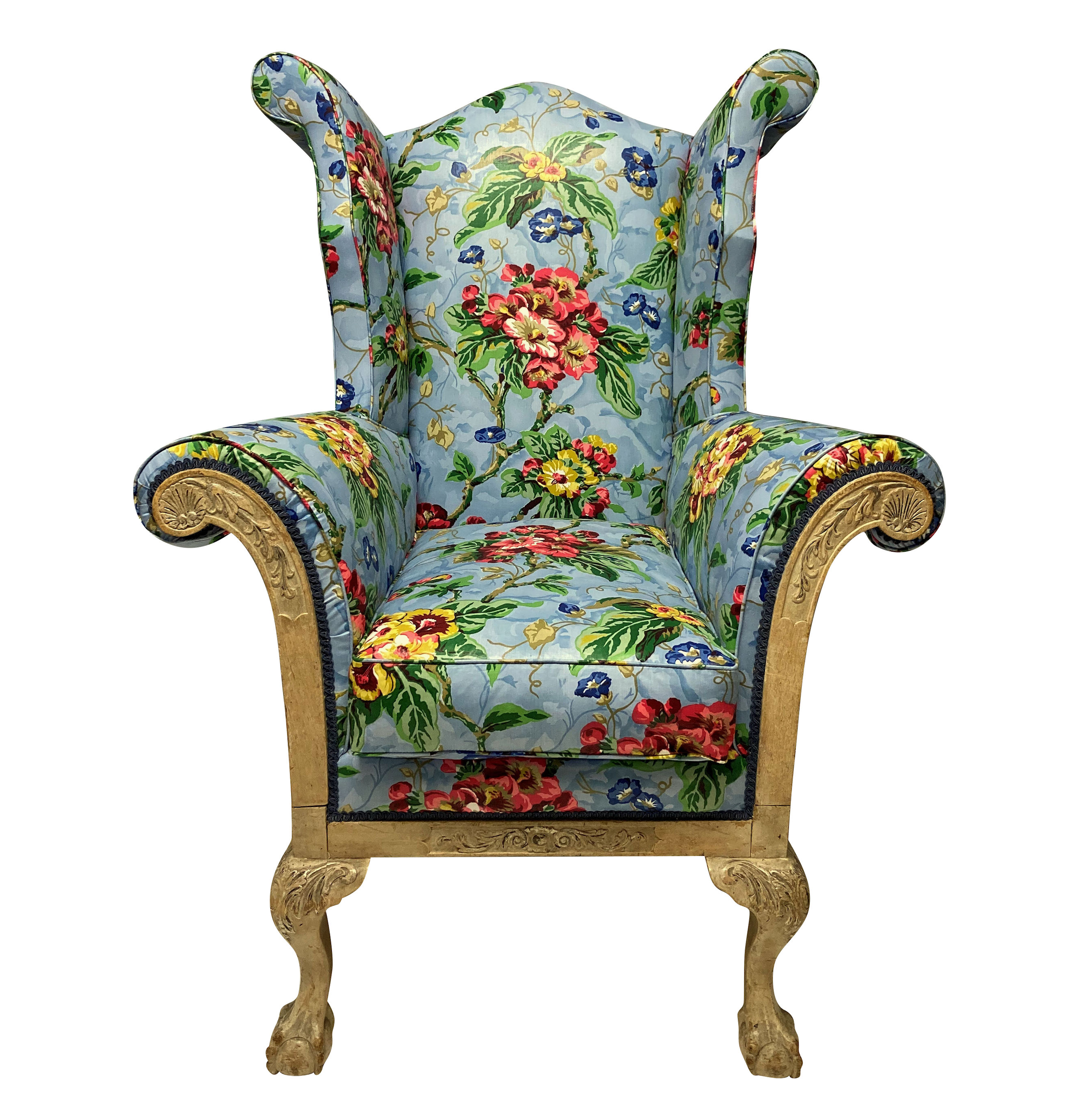 A GEORGE II WING ARMCHAIR OF GENEROUS PROPORTIONS