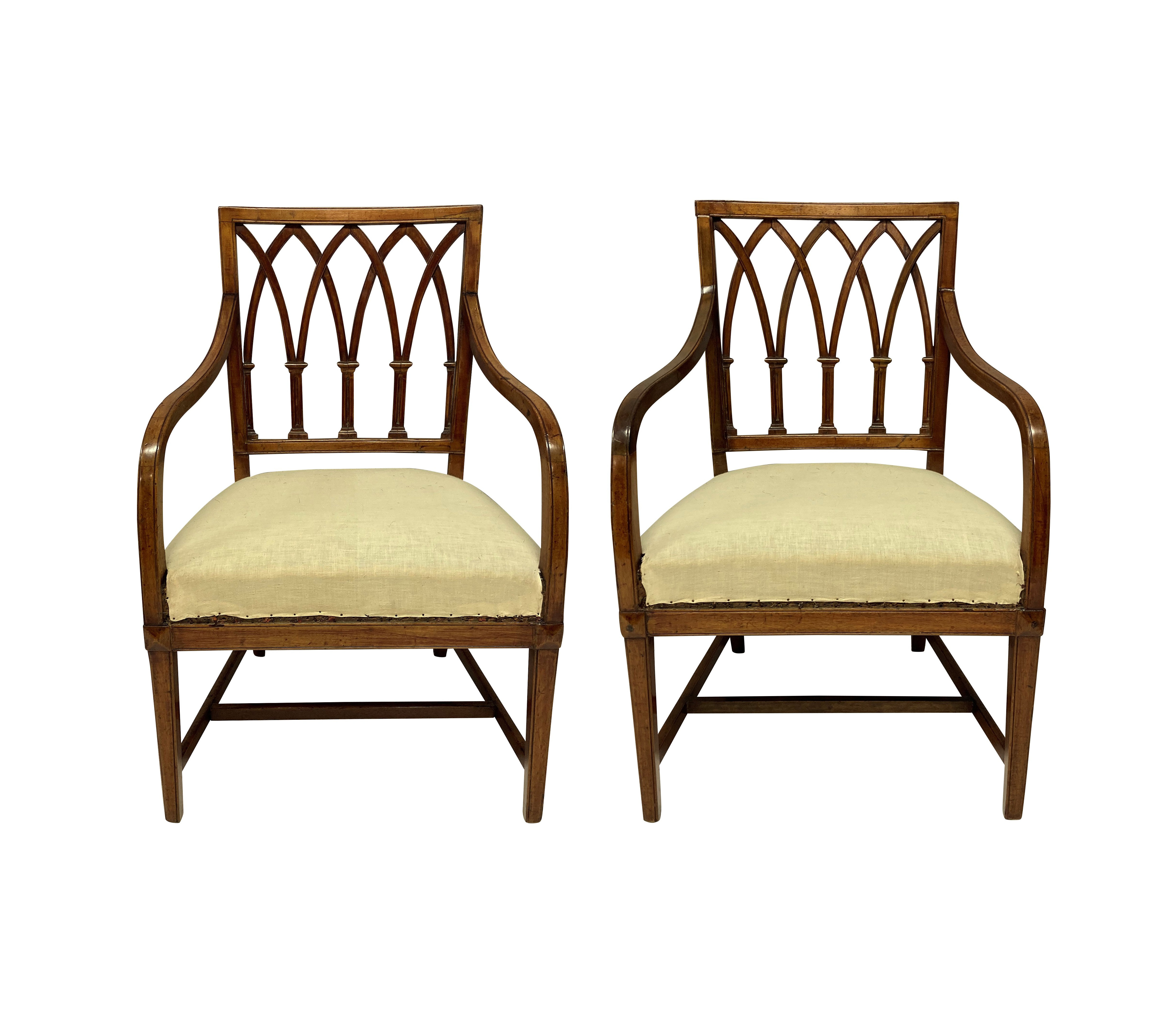 A FINE PAIR OF GEORGE III GOTHIC ARMCHAIRS