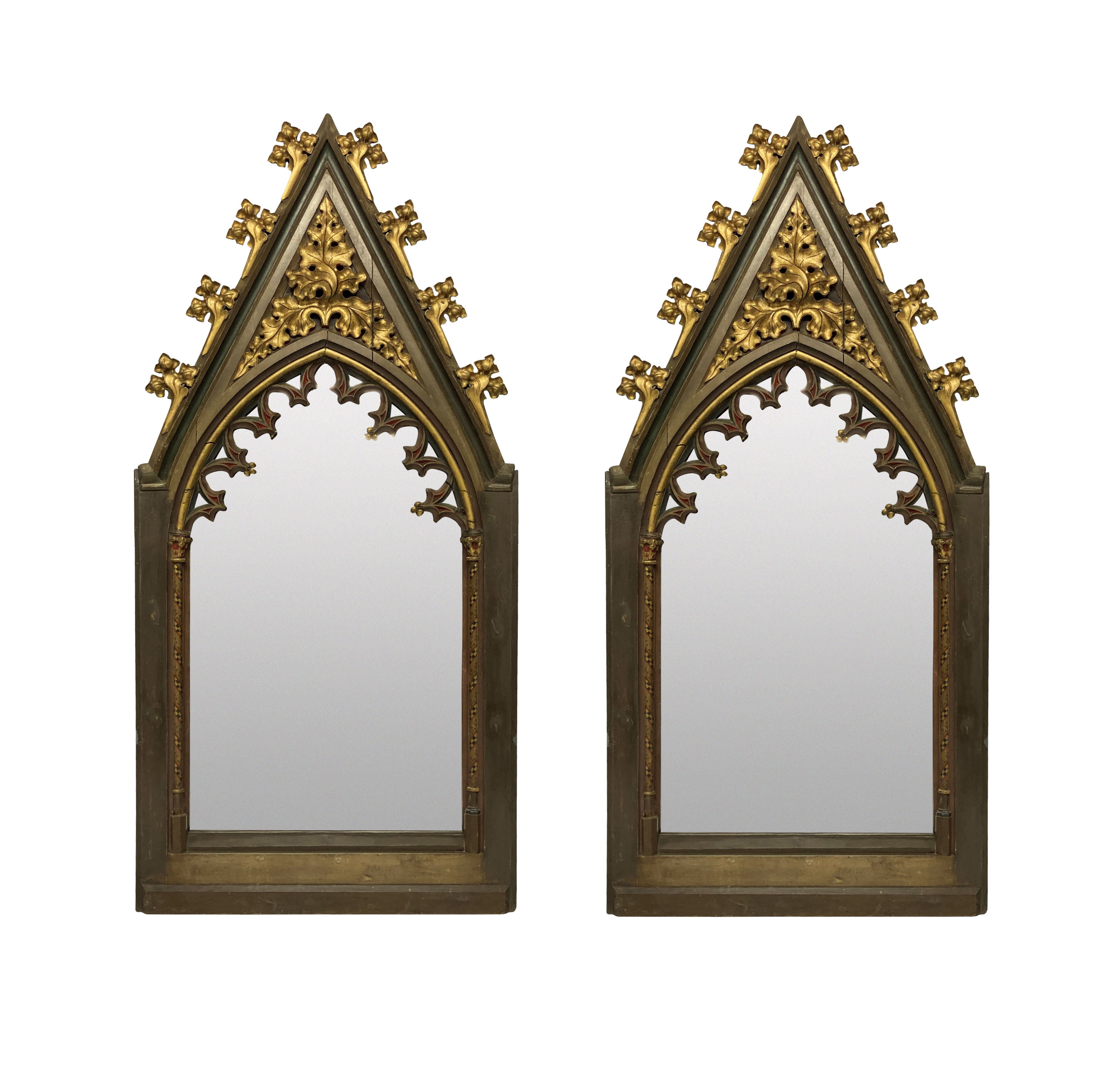 A PAIR OF LARGE EARLY XIX CENTURY ENGLISH GOTHIC REVIVAL MIRRORS
