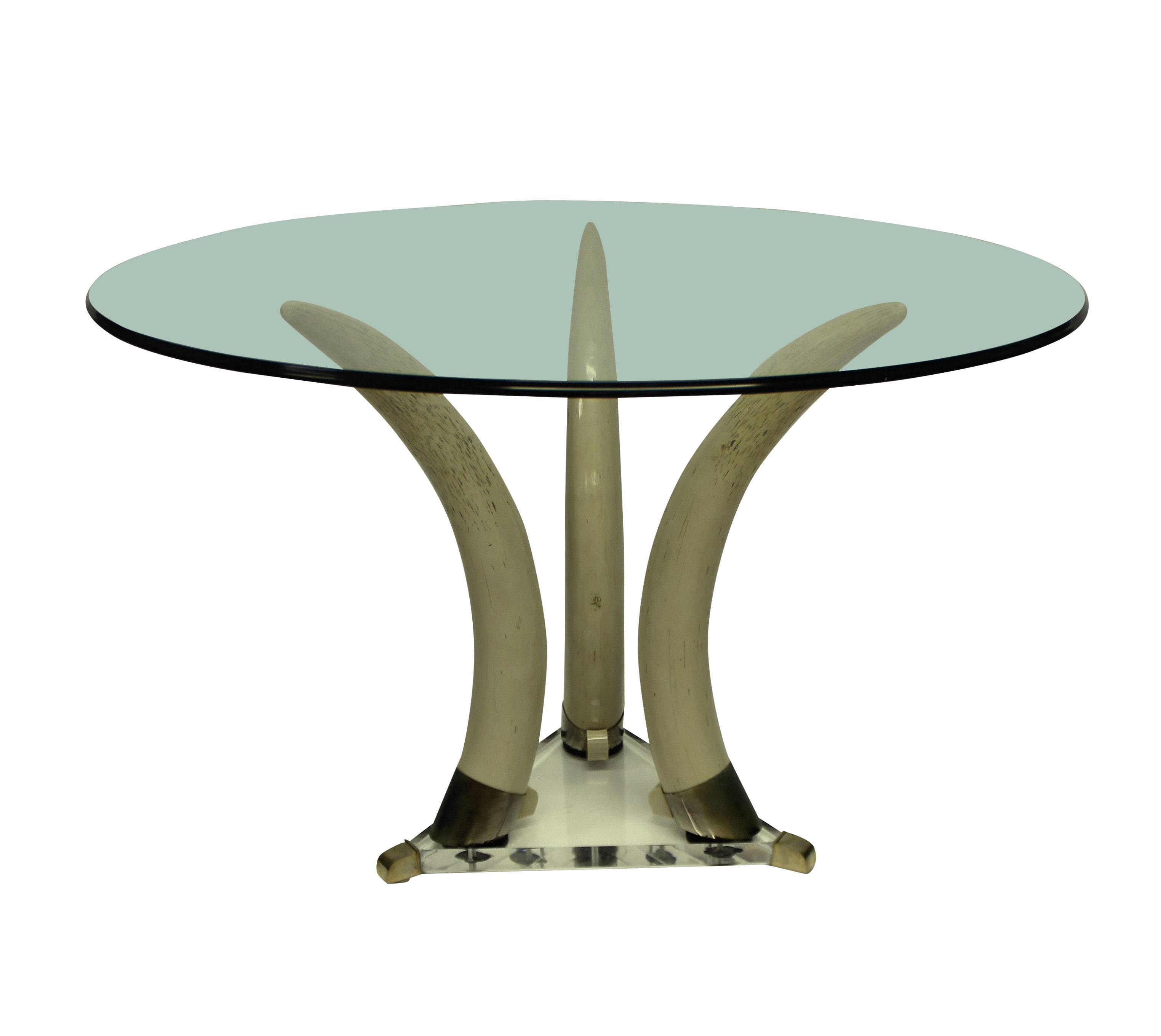 A MID-CENTURY FAUX TUSK CENTRE TABLE