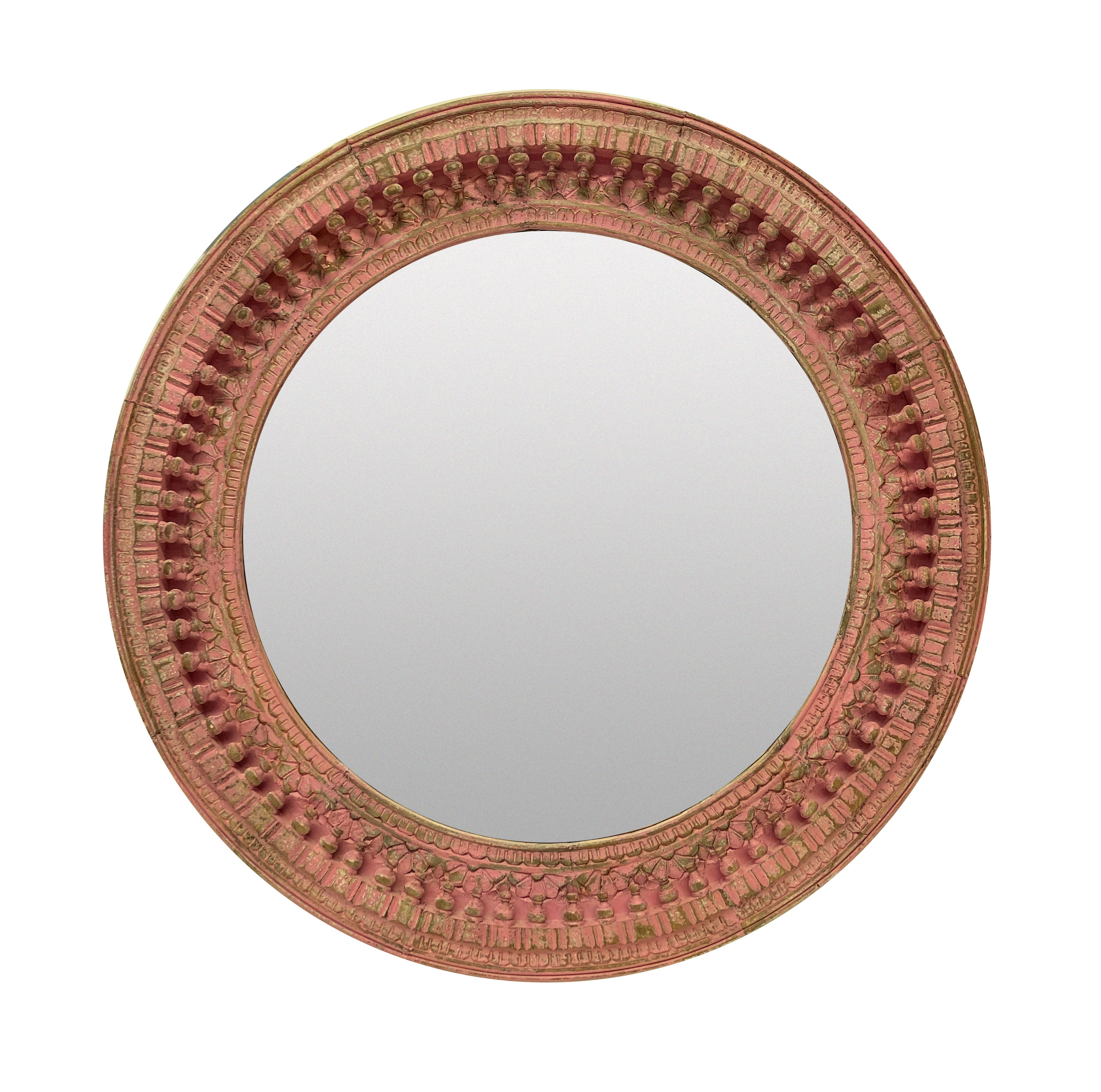 A LARGE INDIAN CARVED & PAINTED CIRCULAR MIRROR