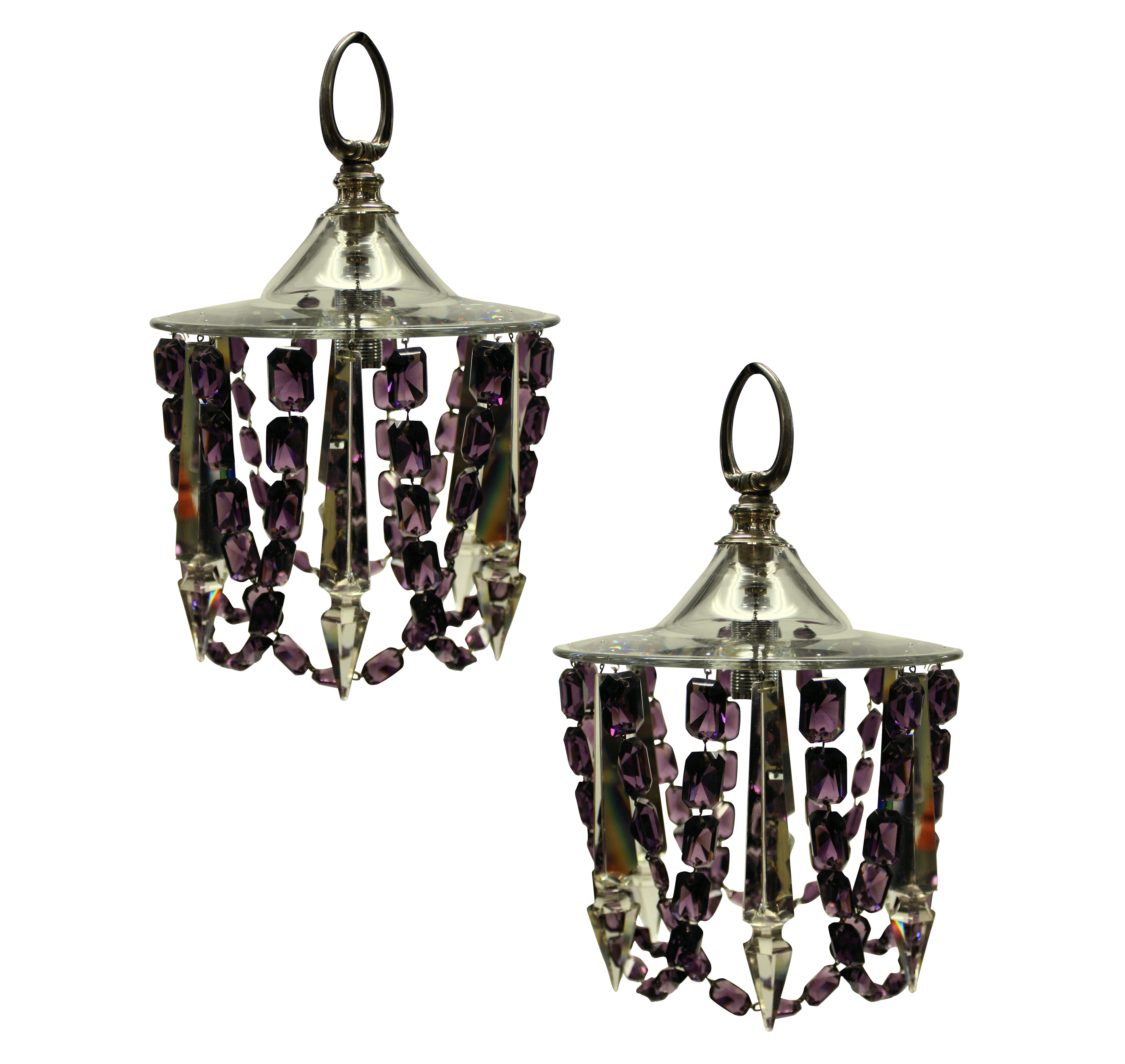 A PAIR OF SMALL CUT GLASS CEILING LIGHTS IN AMETHYST