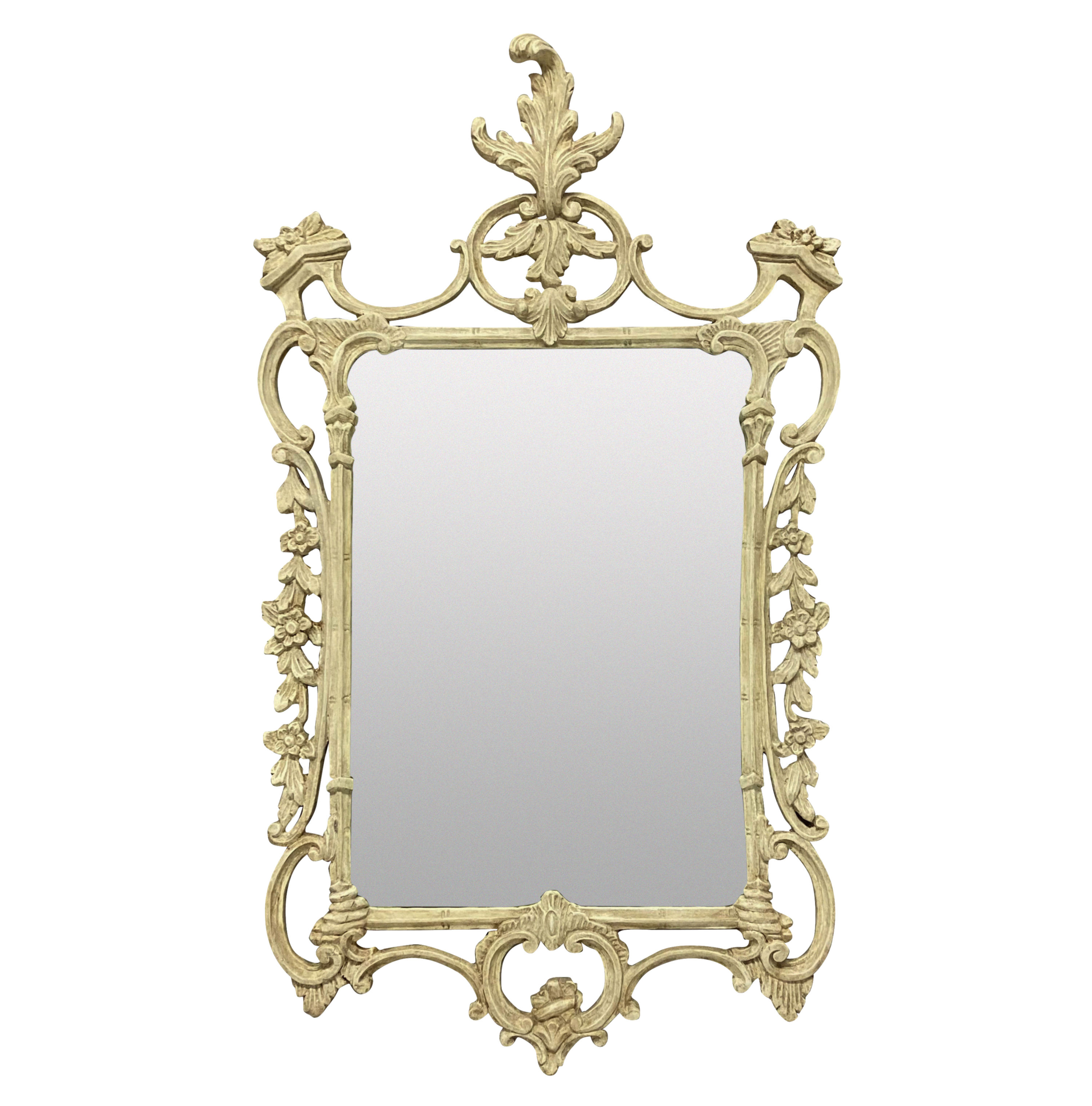 AN ENGLISH CARVED & PAINTED CHIPPENDALE STYLE MIRROR