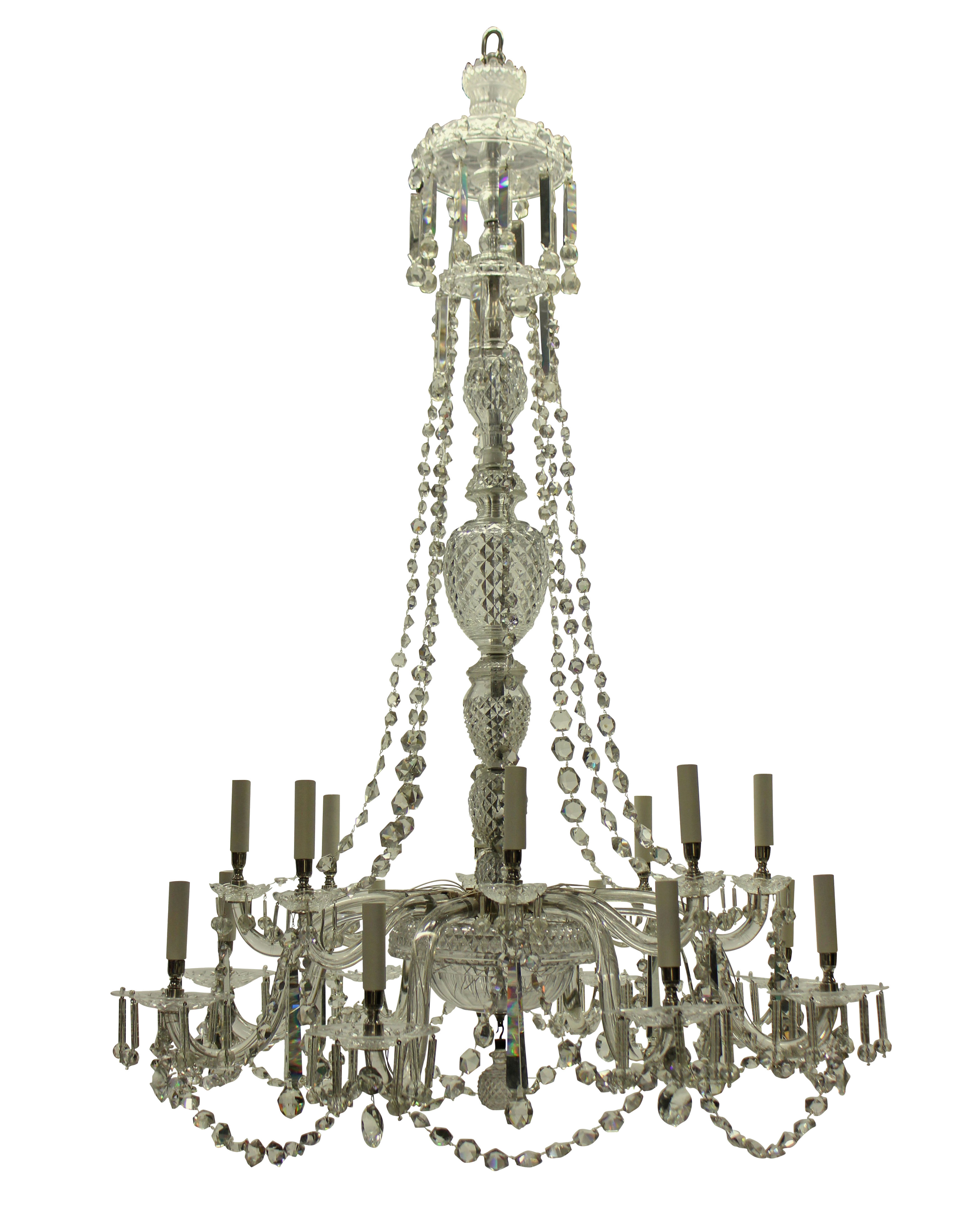 A LARGE ENGLISH SIXTEEN ARM CUT GLASS CHANDELIER OF FINE QUALITY