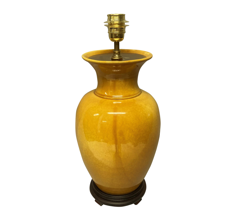 A CHINESE SAFFRON GLAZED LAMP