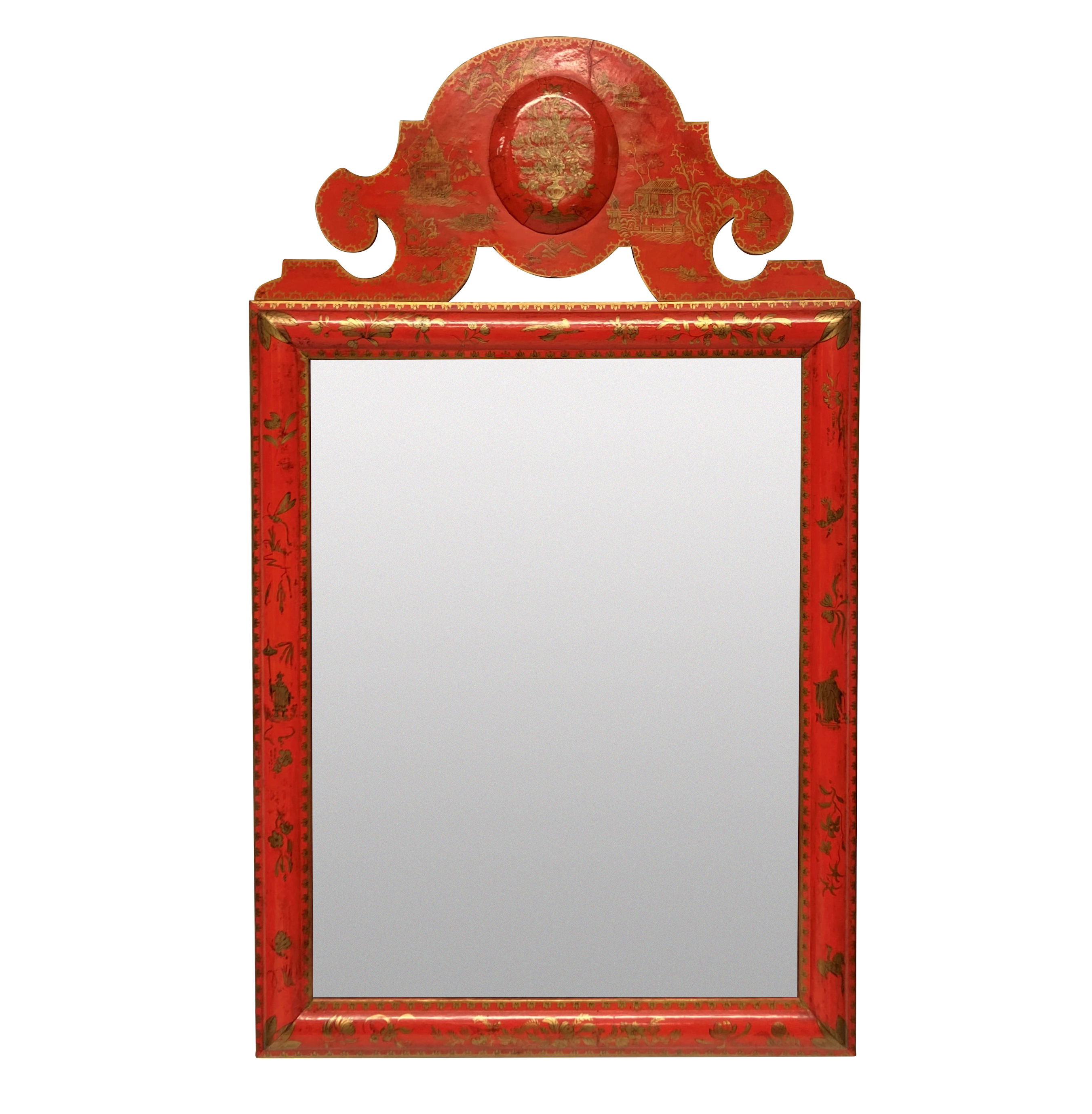 A SCARLET JAPANNED WILLIAM & MARY STYLE MIRROR