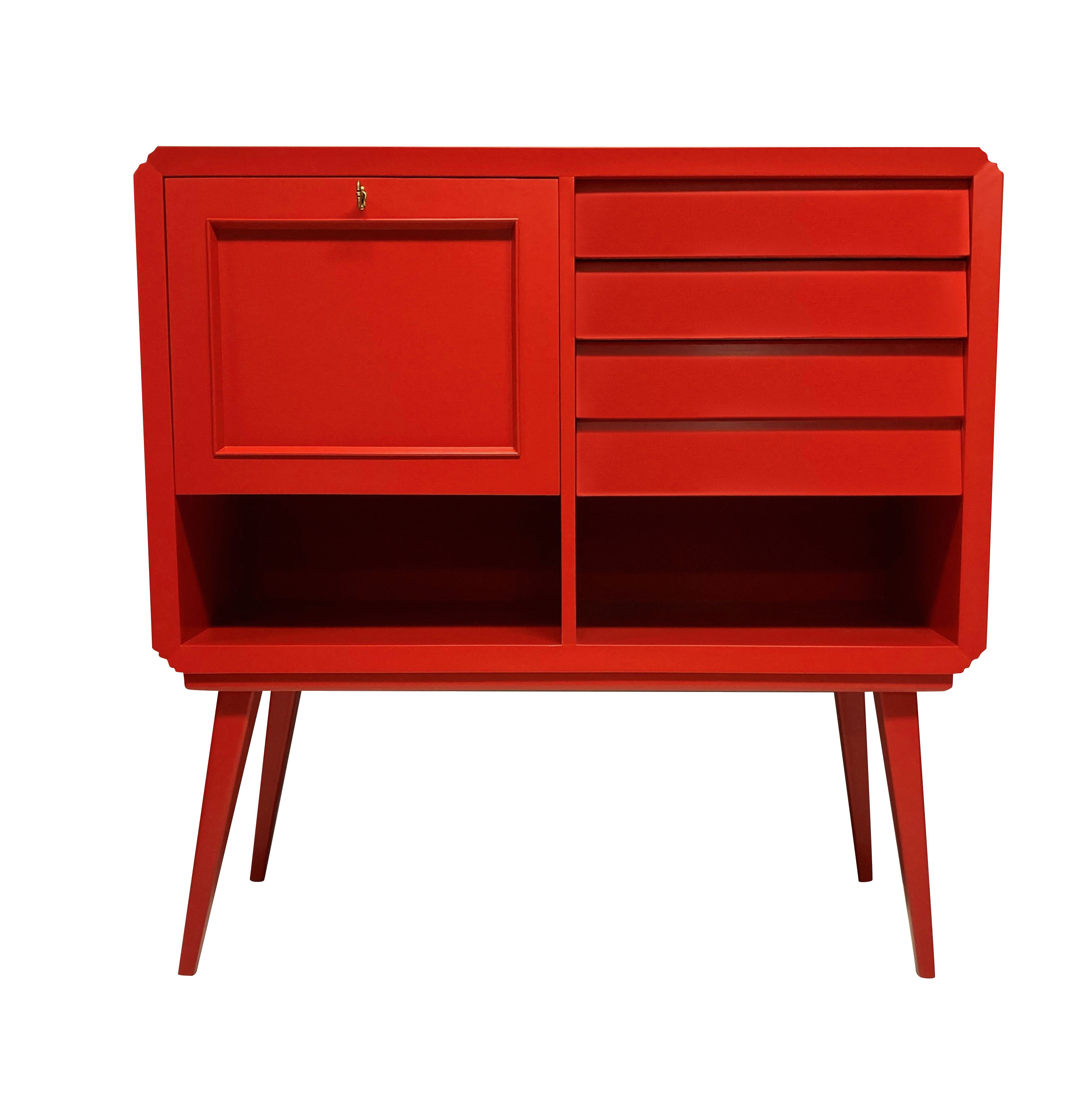 AN ITALIAN MID-CENTURY SCARLET LACQUERED BAR CABINET