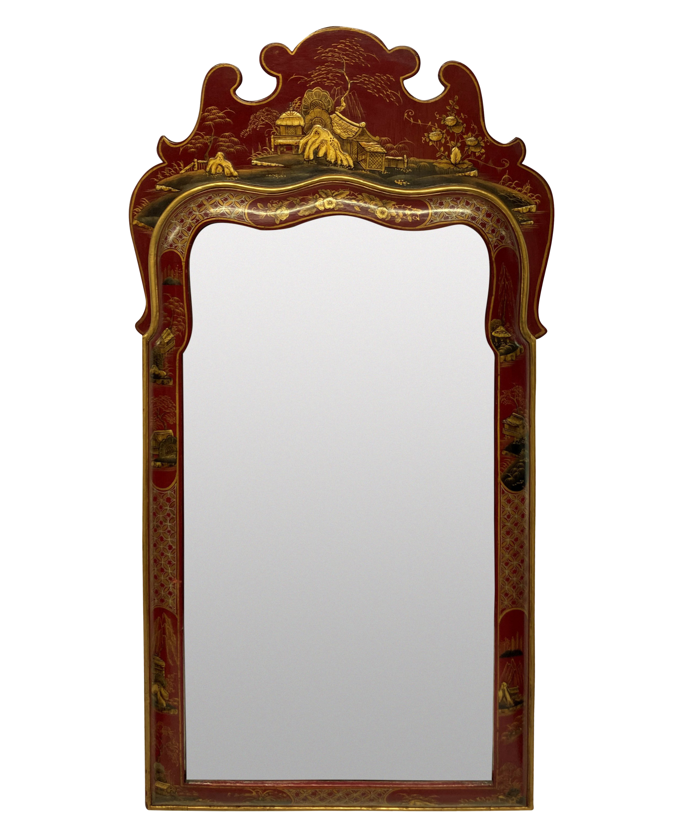A SCARLET JAPANNED QUEEN ANNE STYLE MIRROR