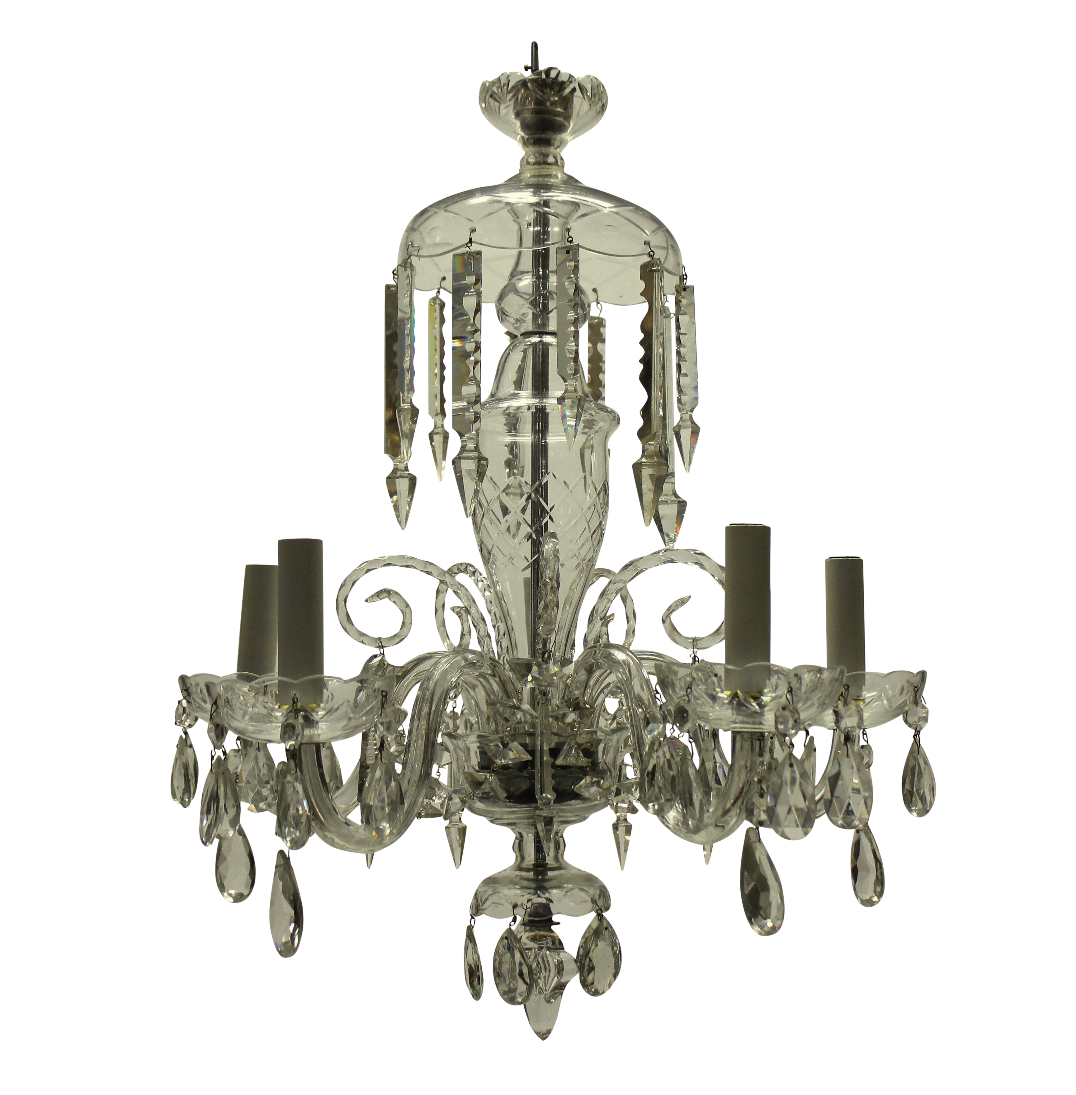 A SMALL ENGLISH CUT GLASS CHANDELIER