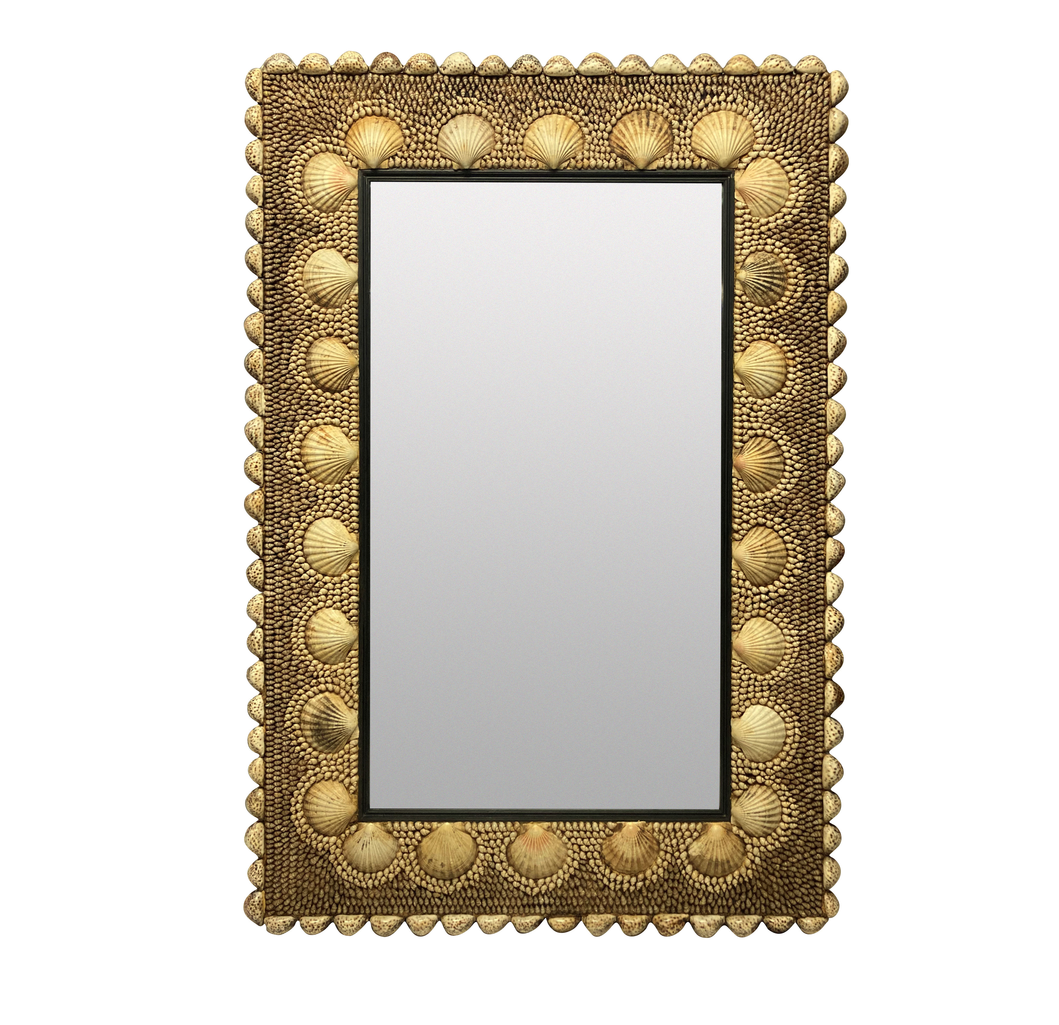 A LARGE SHELL ENCRUSTED MIRROR BY REDMILE