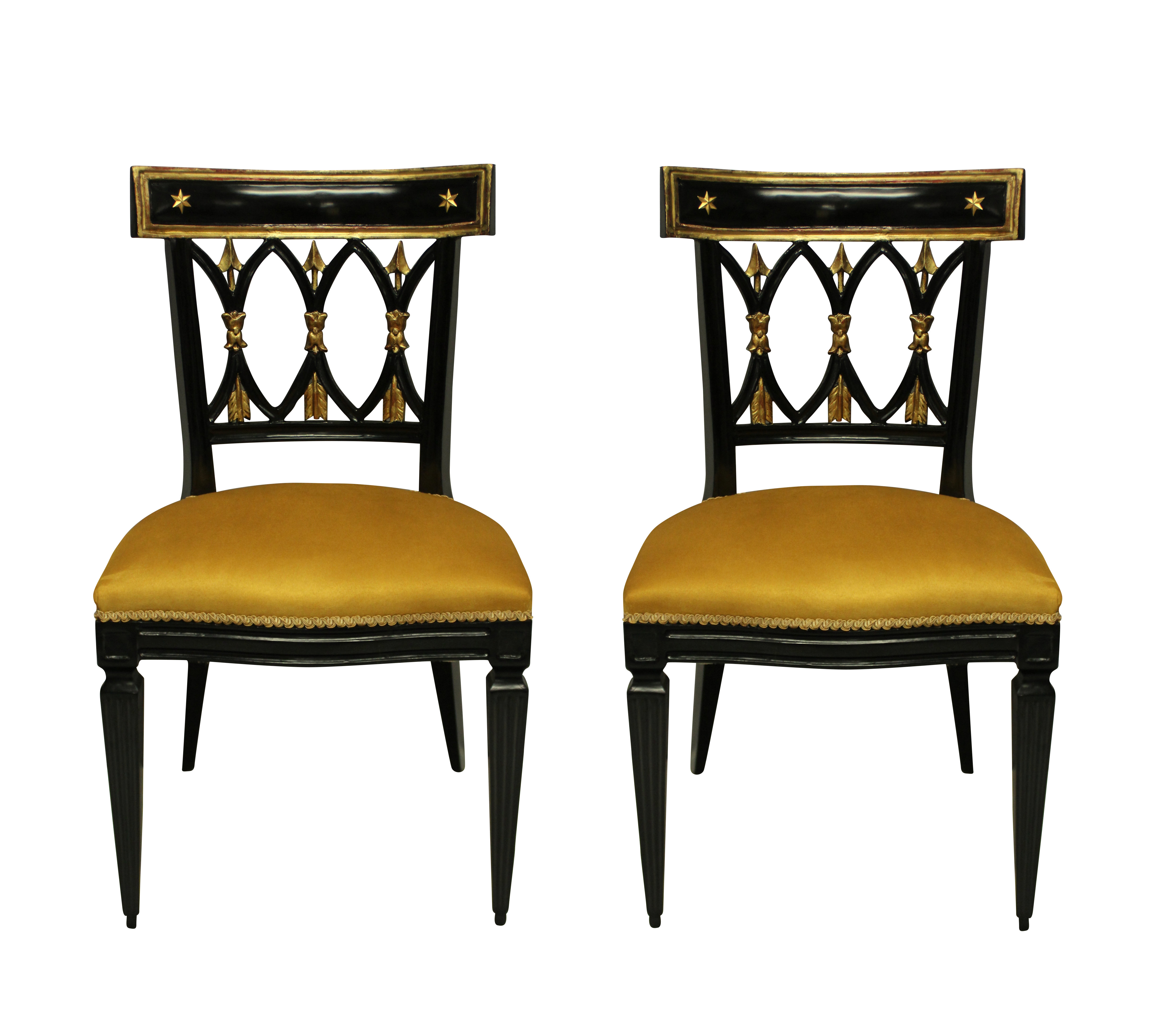A PAIR OF FRENCH EMPIRE REVIVAL HALL CHAIRS