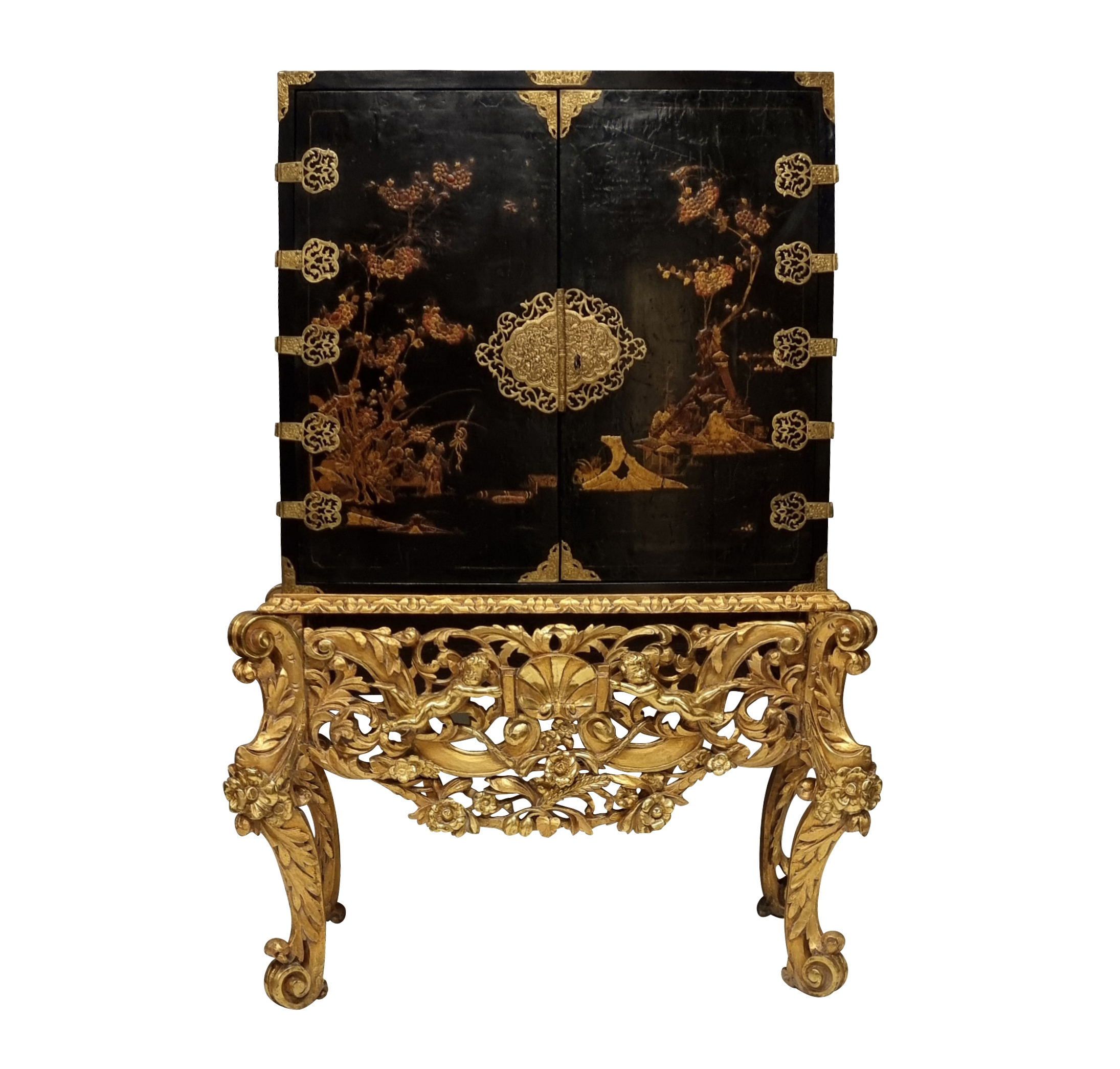 A CHARLES II JAPANNED CHINOISERIE CABINET ON STAND