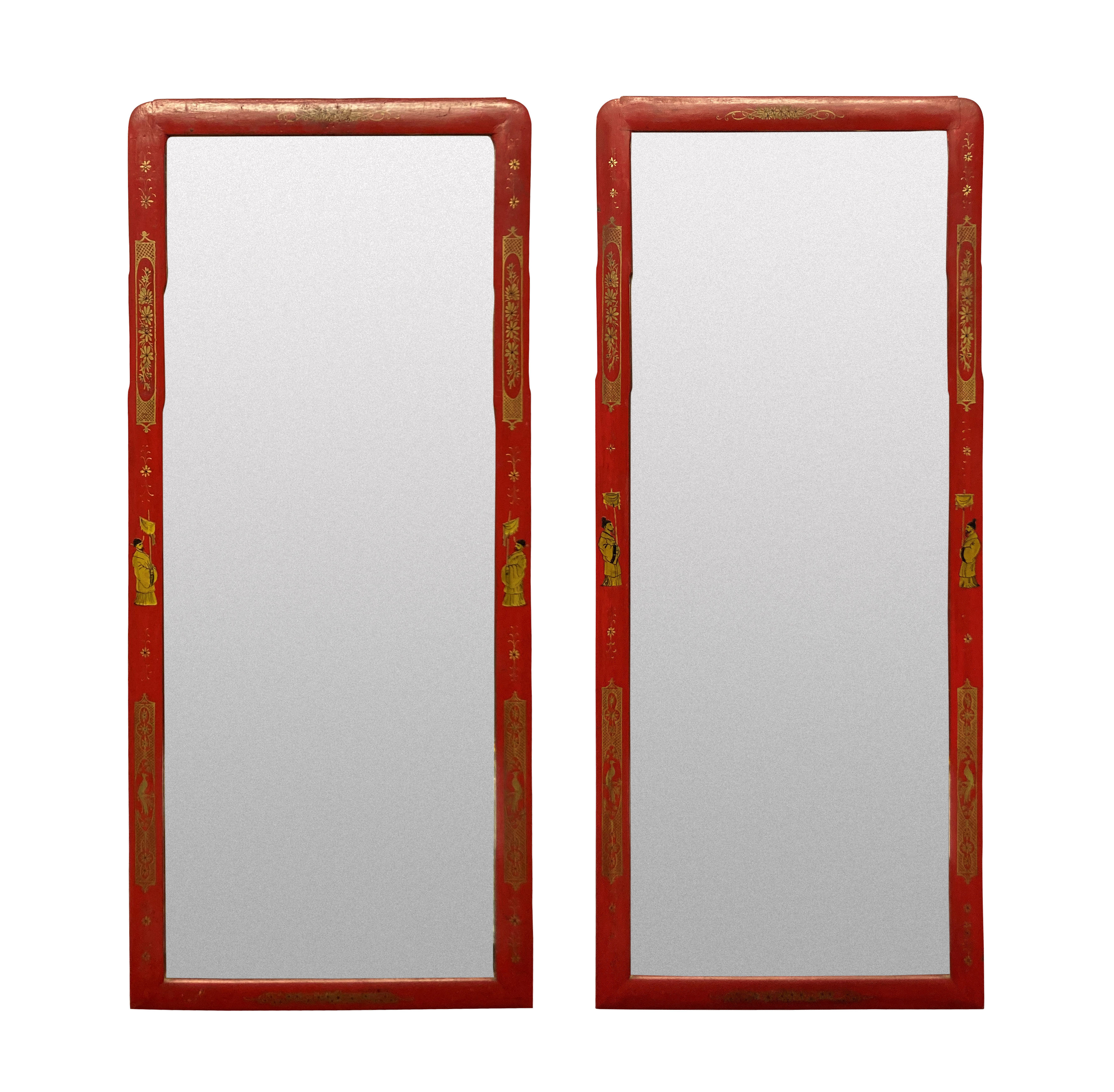 A PAIR OF SCARLET JAPANNED QUEEN ANNE STYLE MIRRORS