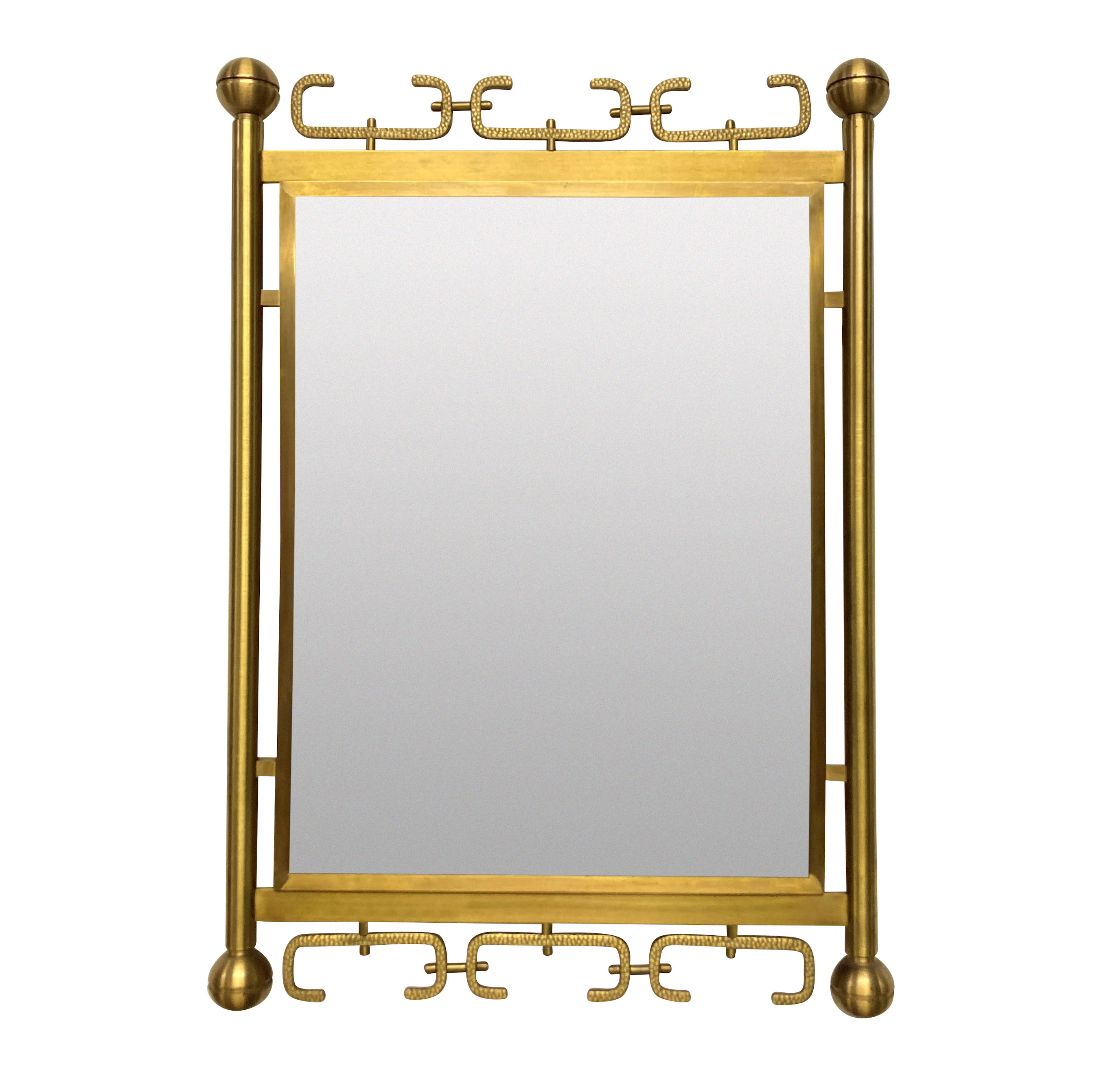 A MID-CENTURY ITALIAN MIRROR IN BRUSHED BRASS