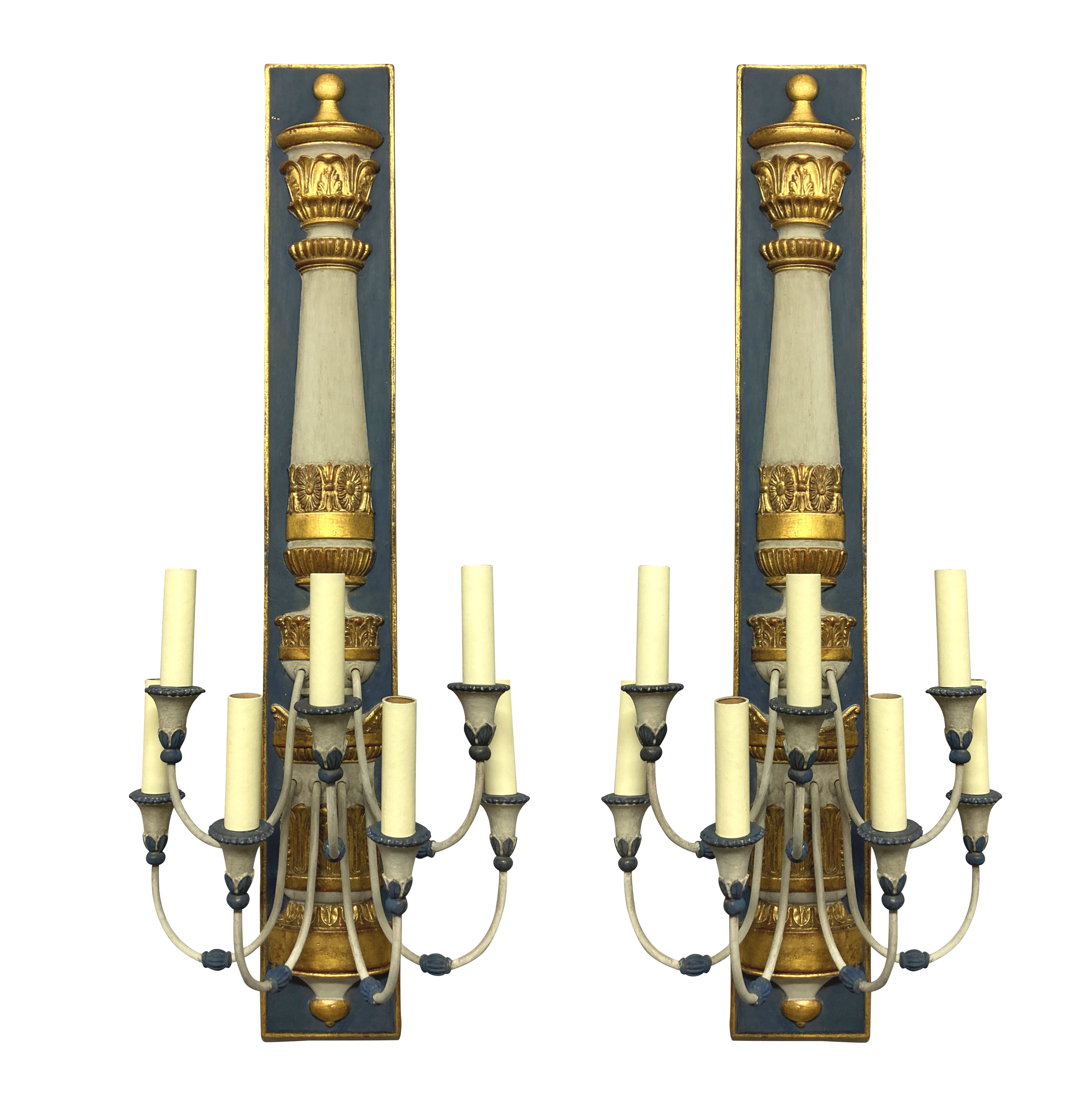 A PAIR OF LARGE EGYPTIAN REVIVAL WALL LIGHTS
