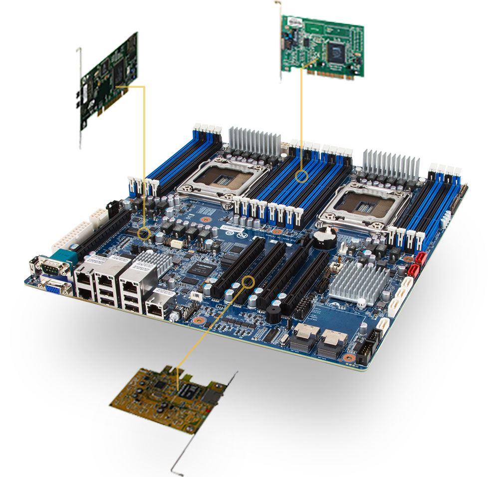 Motherboard showing multiple choice locations to install an expansion card